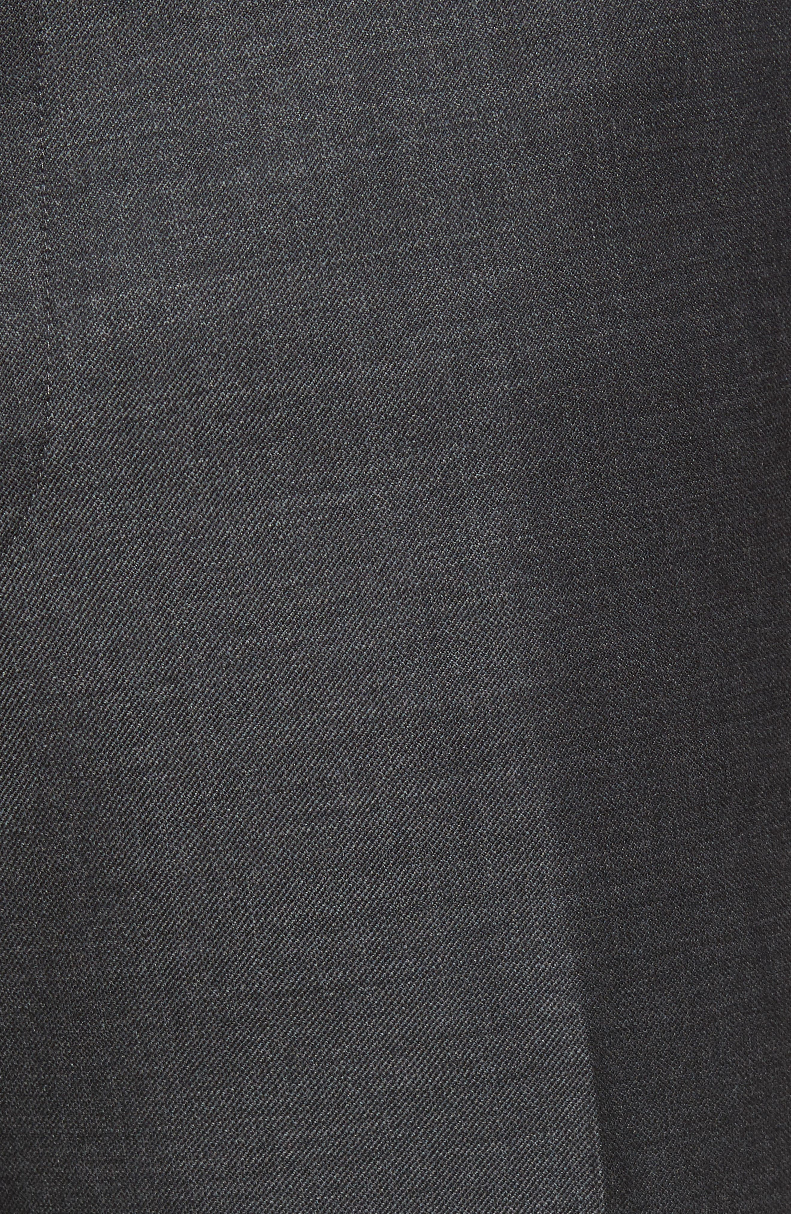 Flat Front Sharkskin Wool Trousers,                             Alternate thumbnail 5, color,                             Charcoal