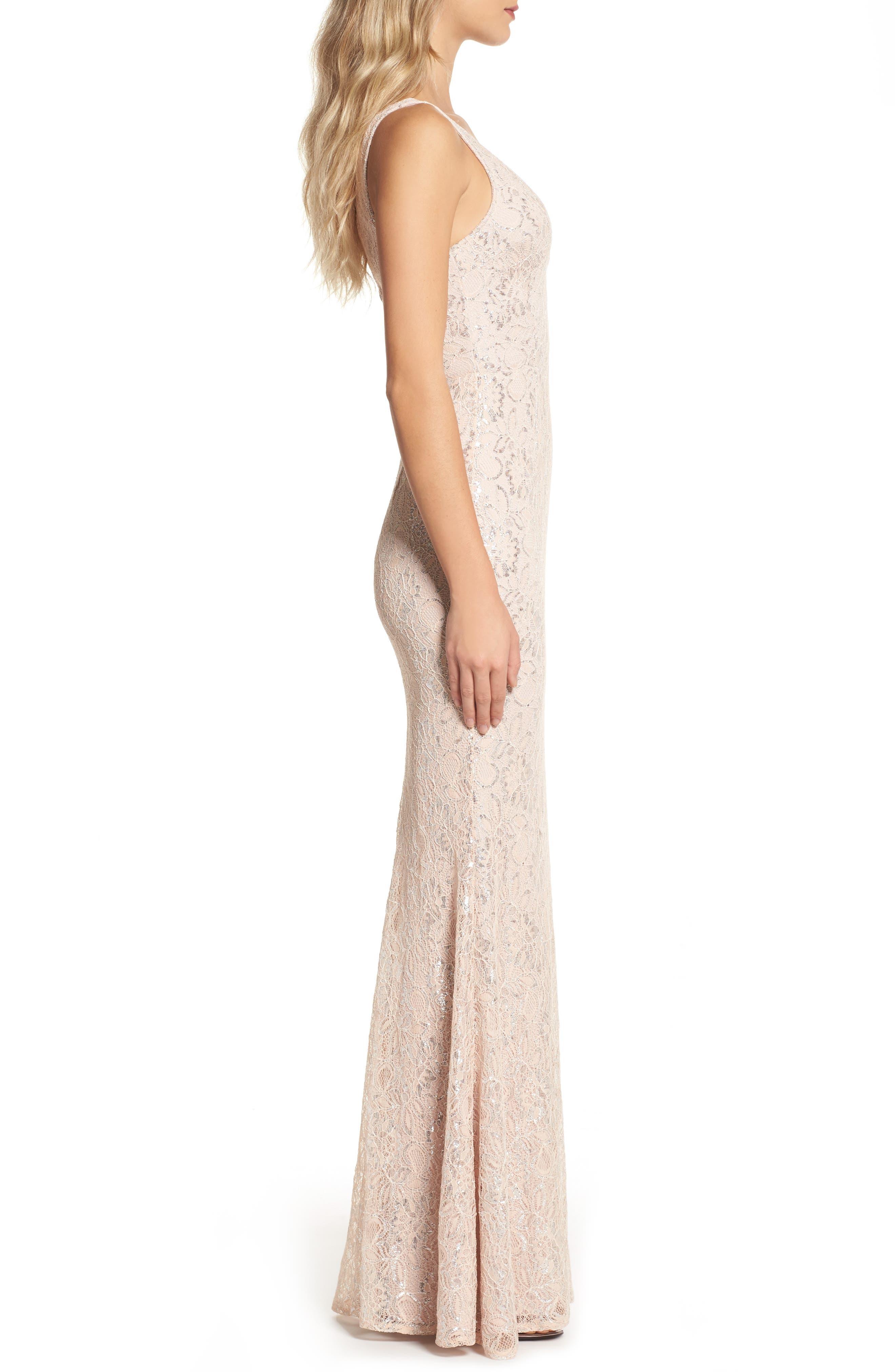 Foil Lace Mermaid Gown,                             Alternate thumbnail 3, color,                             Blush