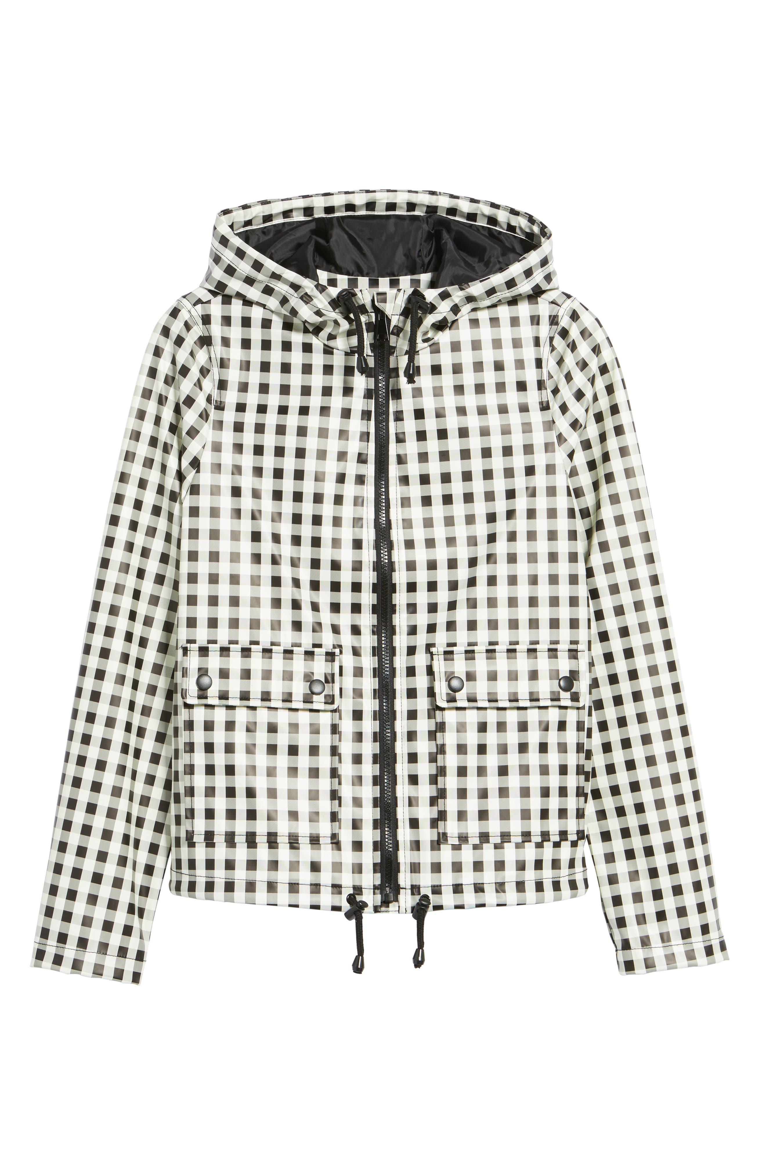 Gingham Hooded Rain Jacket,                             Alternate thumbnail 7, color,                             Black/ White