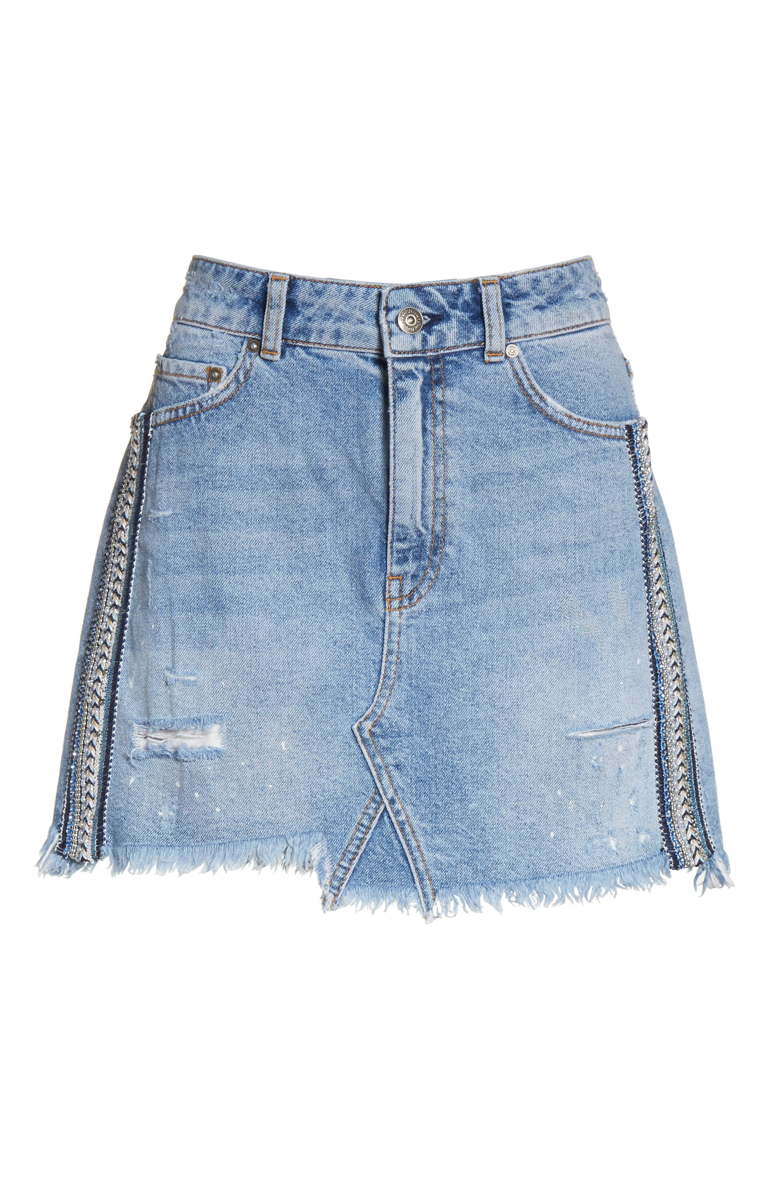 Side Stripe Embellished Miniskirt,                             Alternate thumbnail 6, color,                             Blue