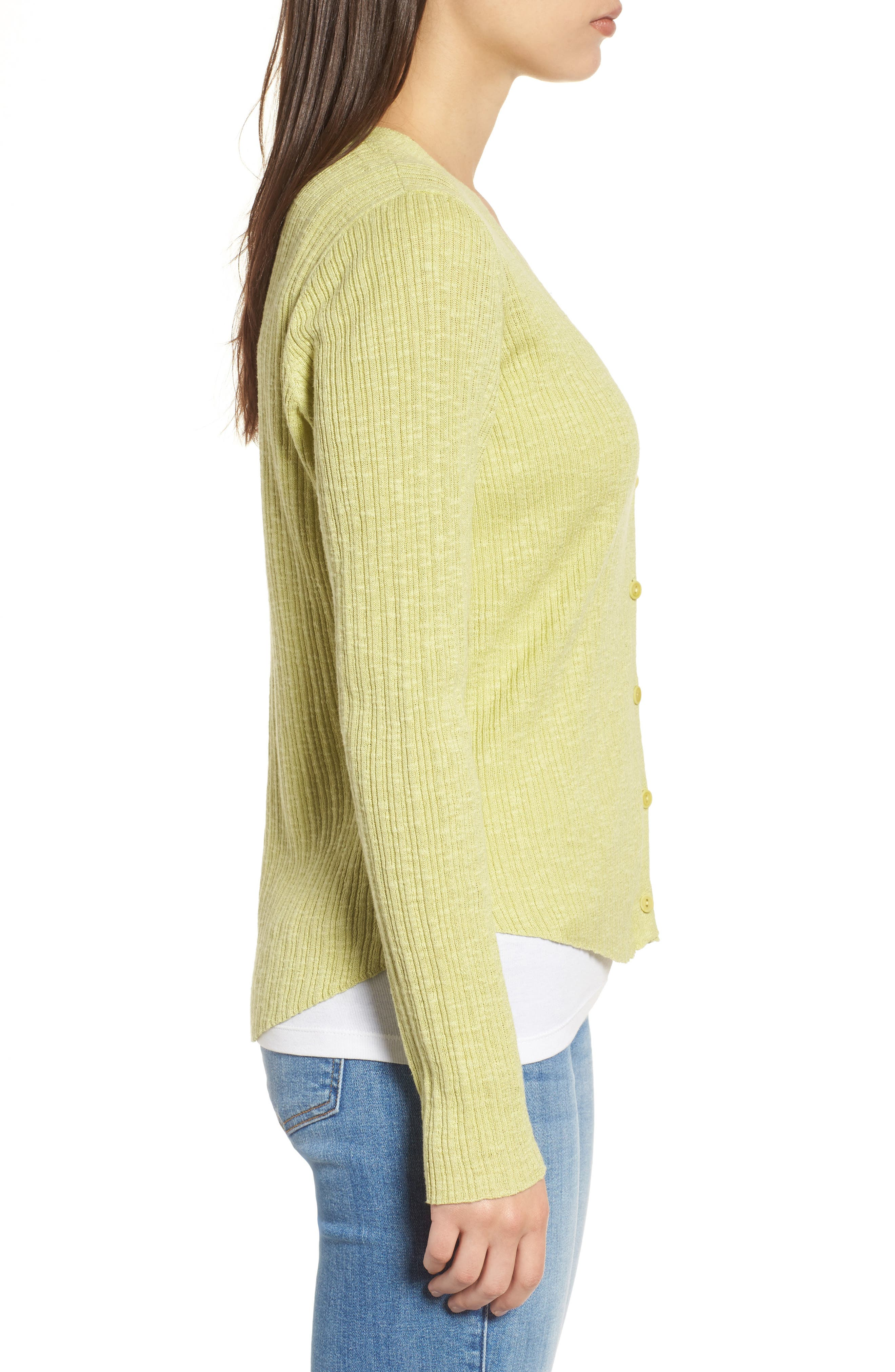 V-Neck Organic Linen & Cotton Cardigan,                             Alternate thumbnail 3, color,                             Verbena