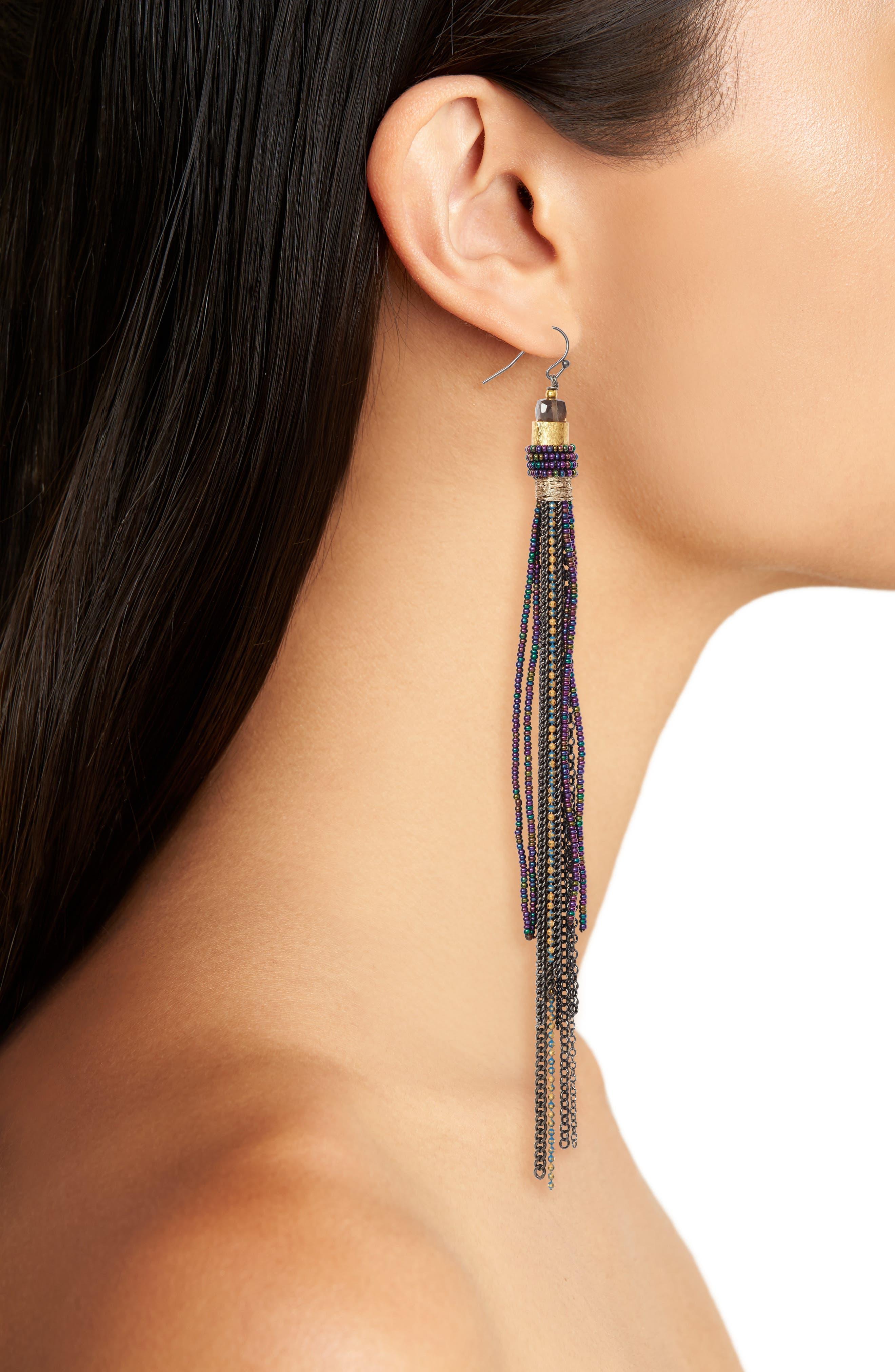 Chain Tassel Earrings,                             Alternate thumbnail 2, color,                             Gunmetal