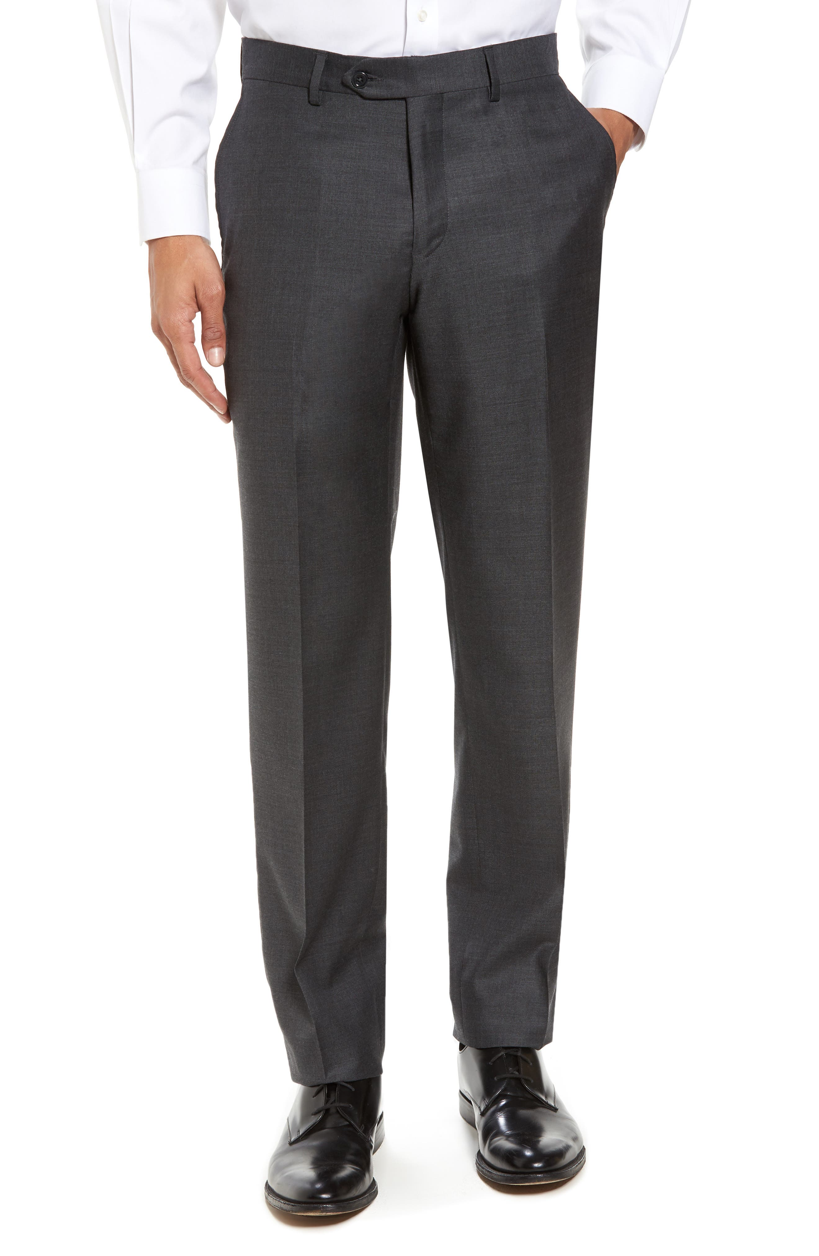 Flat Front Sharkskin Wool Trousers,                         Main,                         color, Charcoal