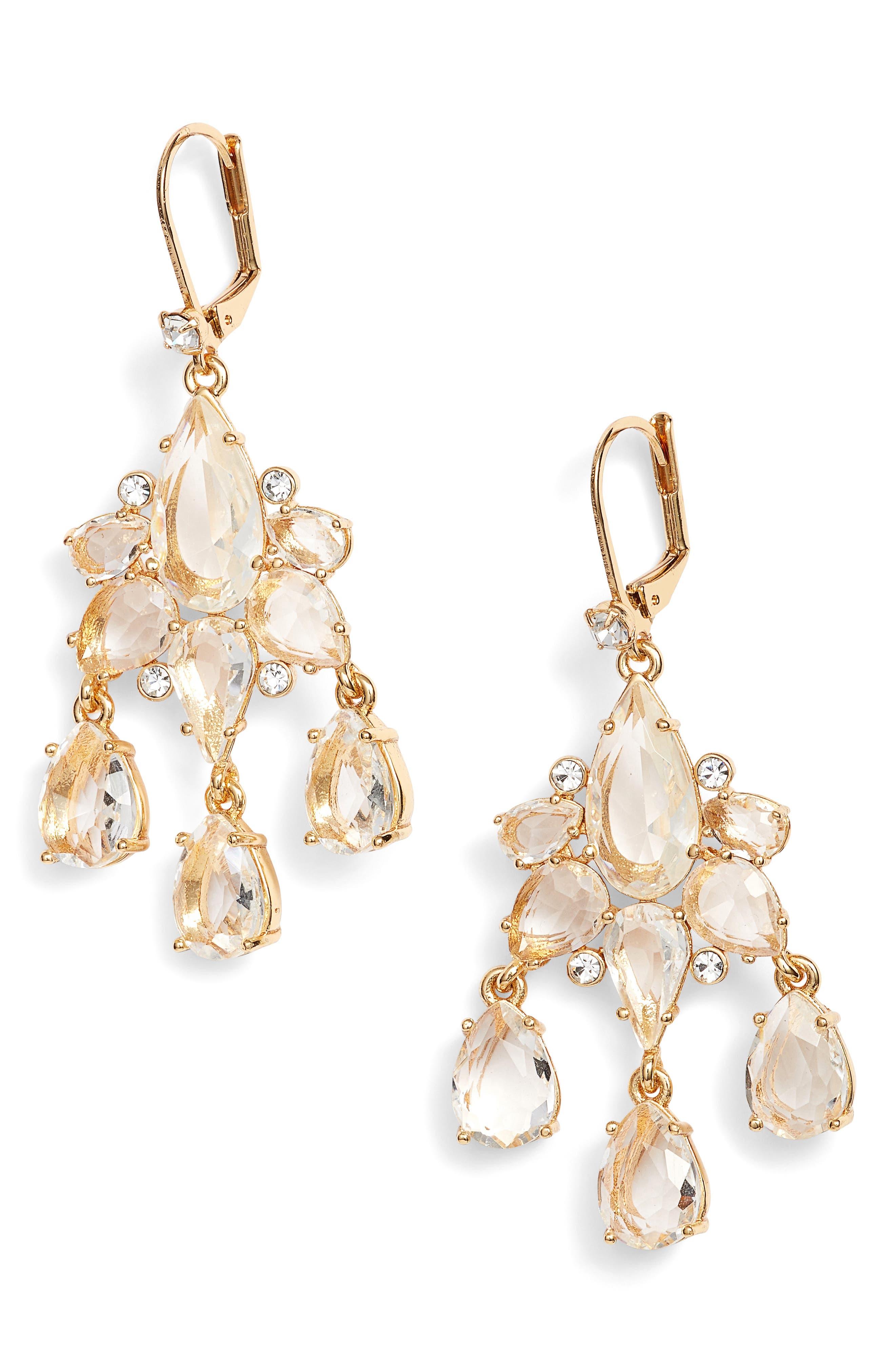 glitzy gems chandelier drop earrings,                         Main,                         color, Gold