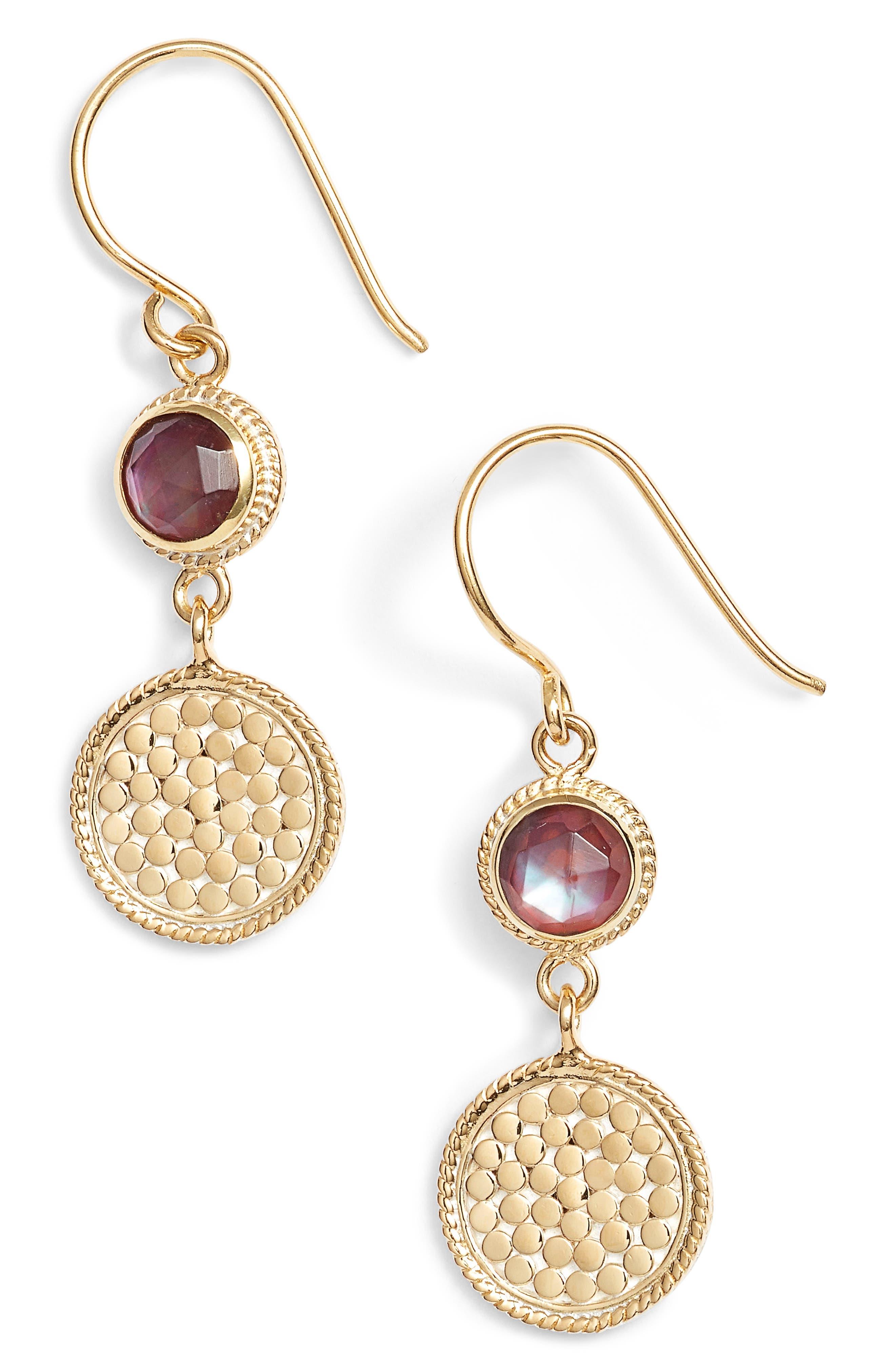 Semiprecious Stone Double Drop Earrings,                         Main,                         color, Gold/ Silver/ Garnet