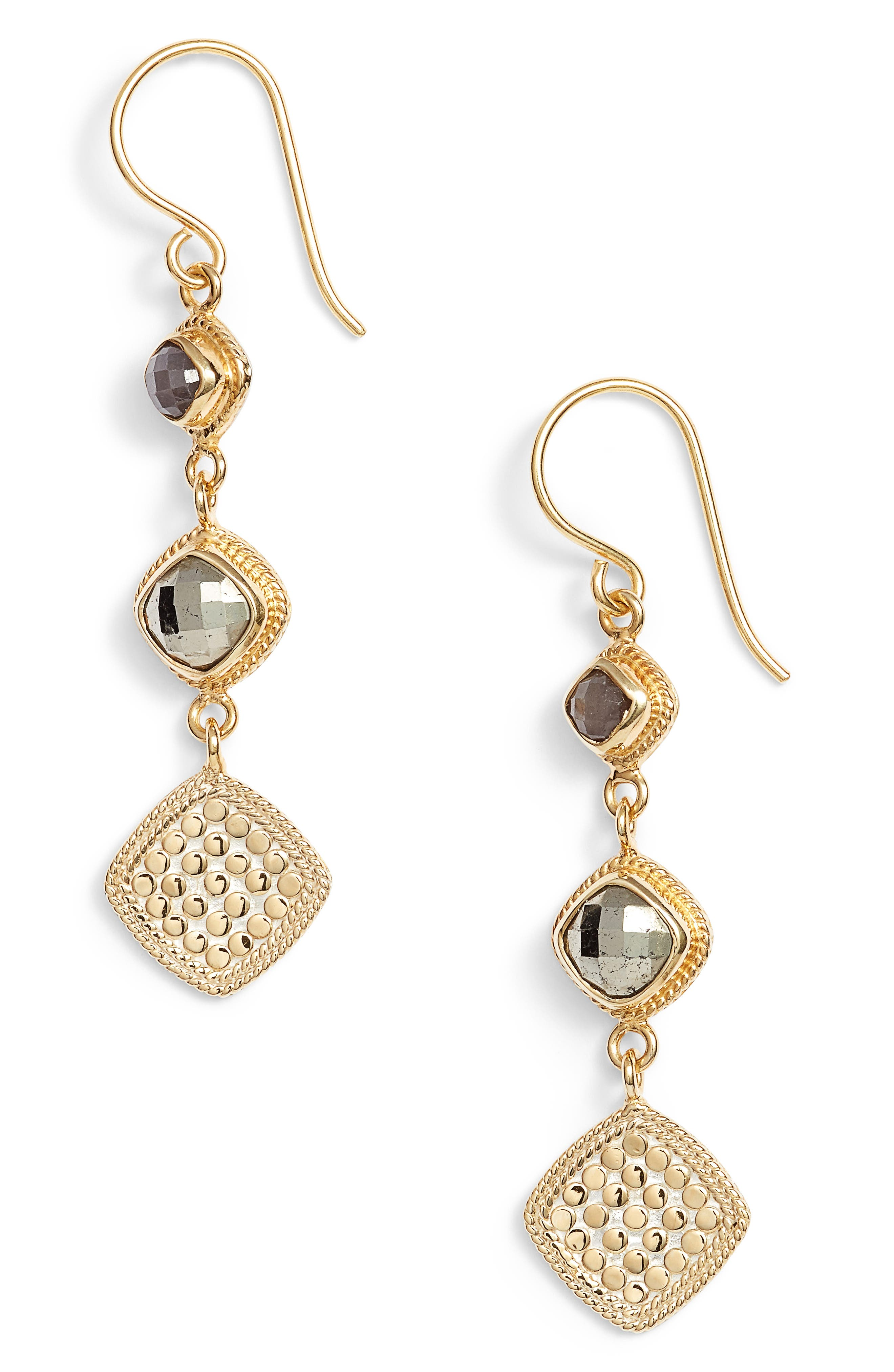 Grey Sapphire & Pyrite Triple Drop Earrings,                         Main,                         color, Gold/ Silver/ Grey/ Pyrite