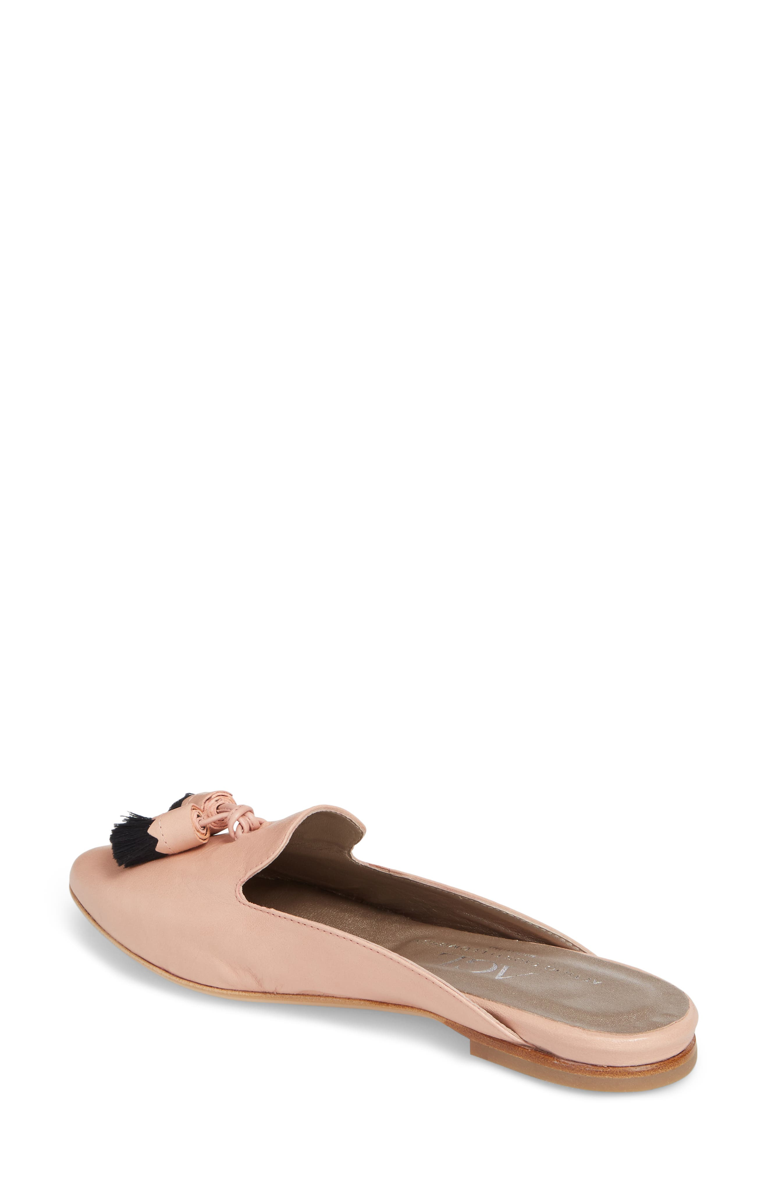Tassel Loafer Mule,                             Alternate thumbnail 2, color,                             Nude Pink Leather