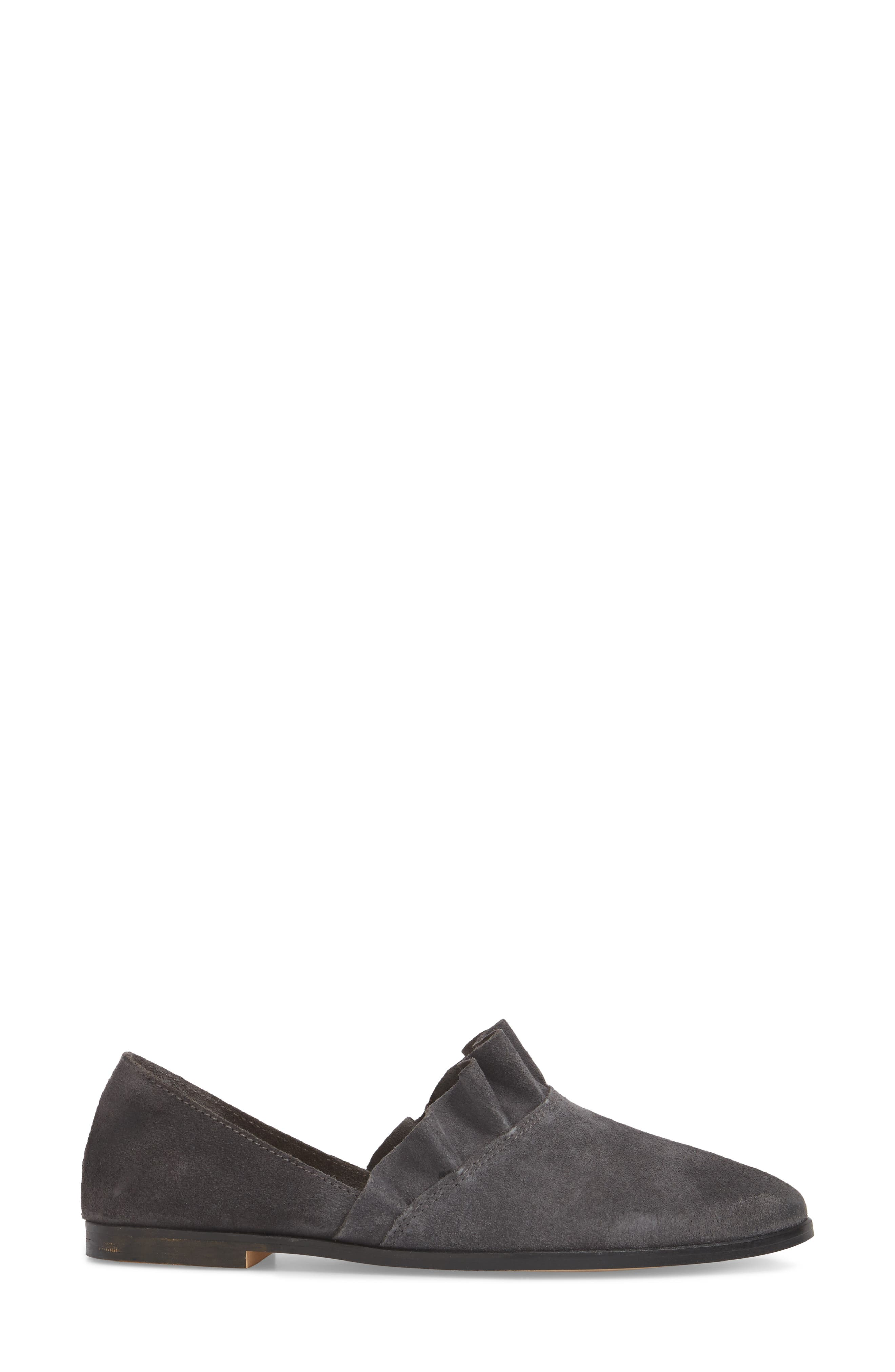 Gabbie Ruffle d'Orsay Flat,                             Alternate thumbnail 3, color,                             Ink Suede