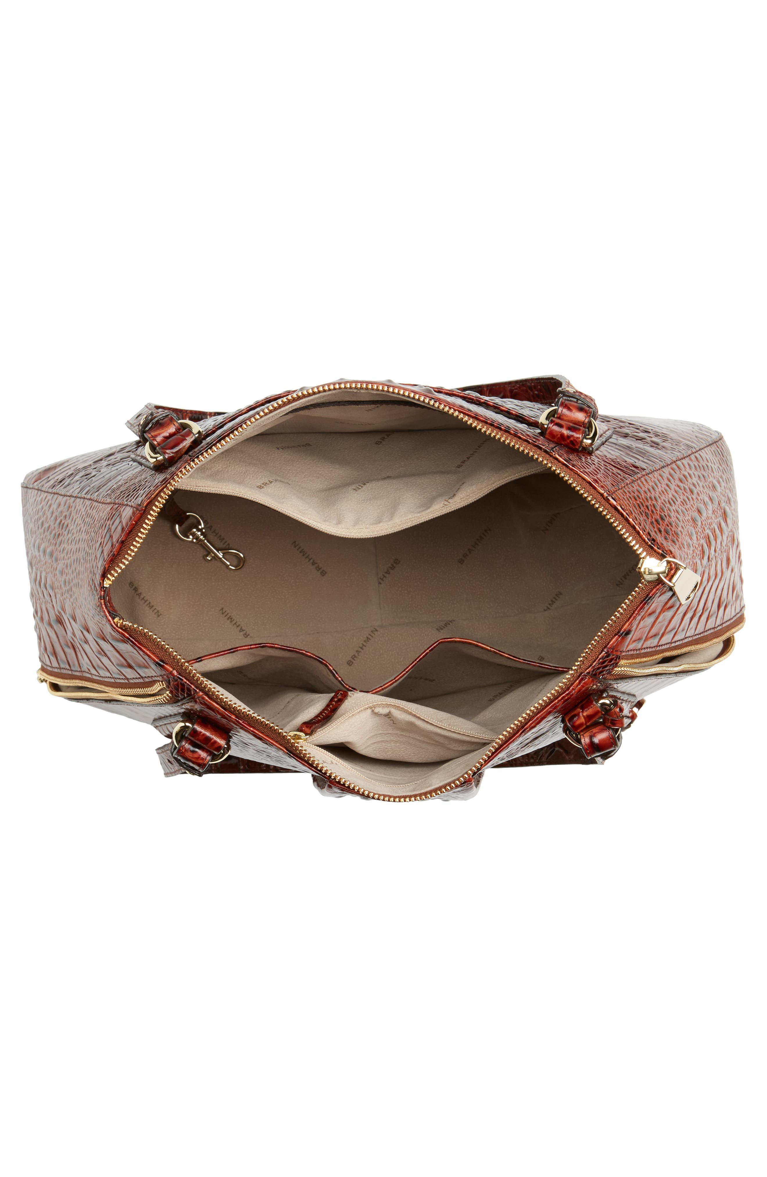 Melbourne - Adina Croc Embossed Leather Satchel,                             Alternate thumbnail 4, color,                             Pecan
