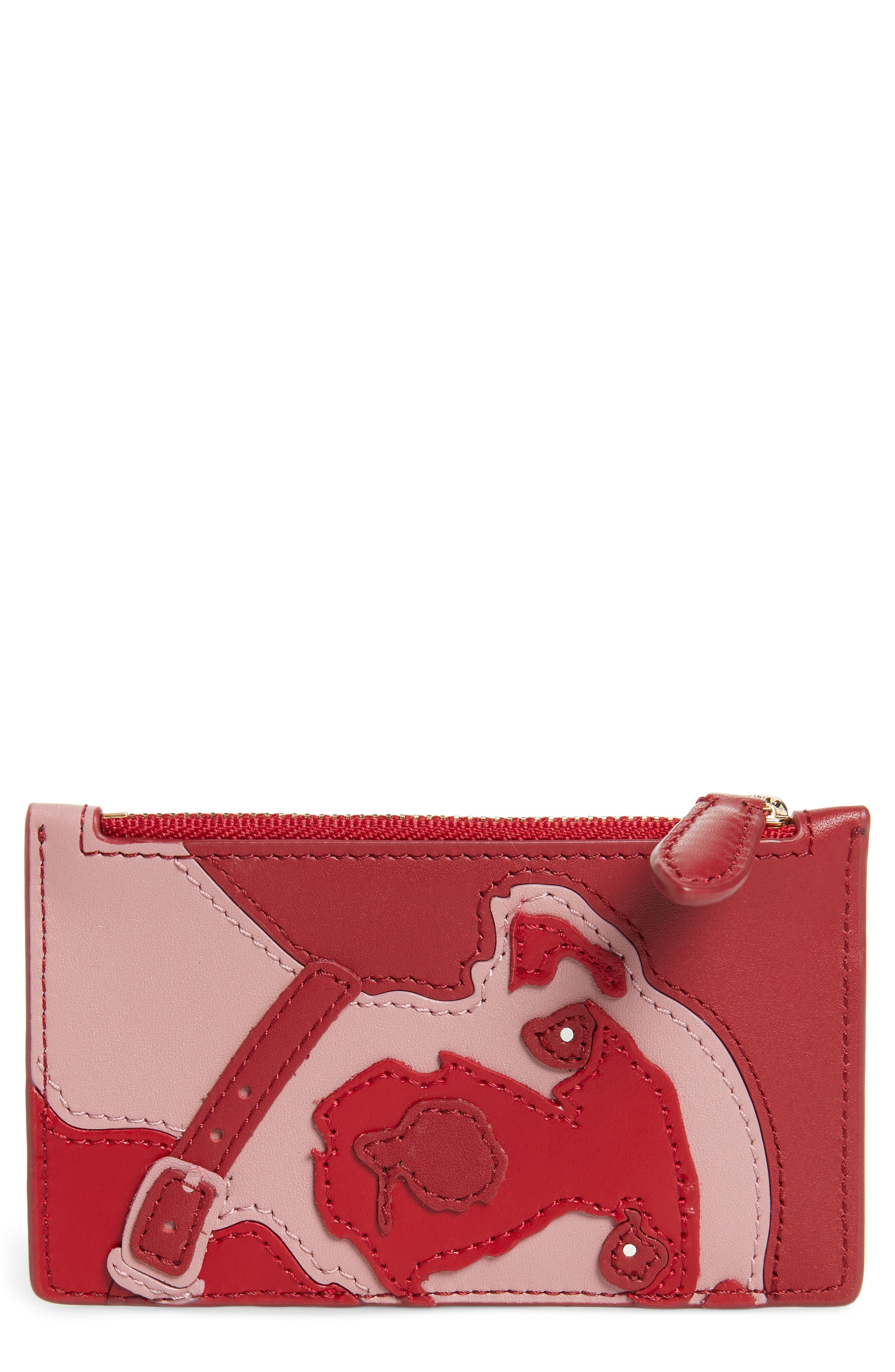 Leather Card Case,                             Main thumbnail 1, color,                             Purple