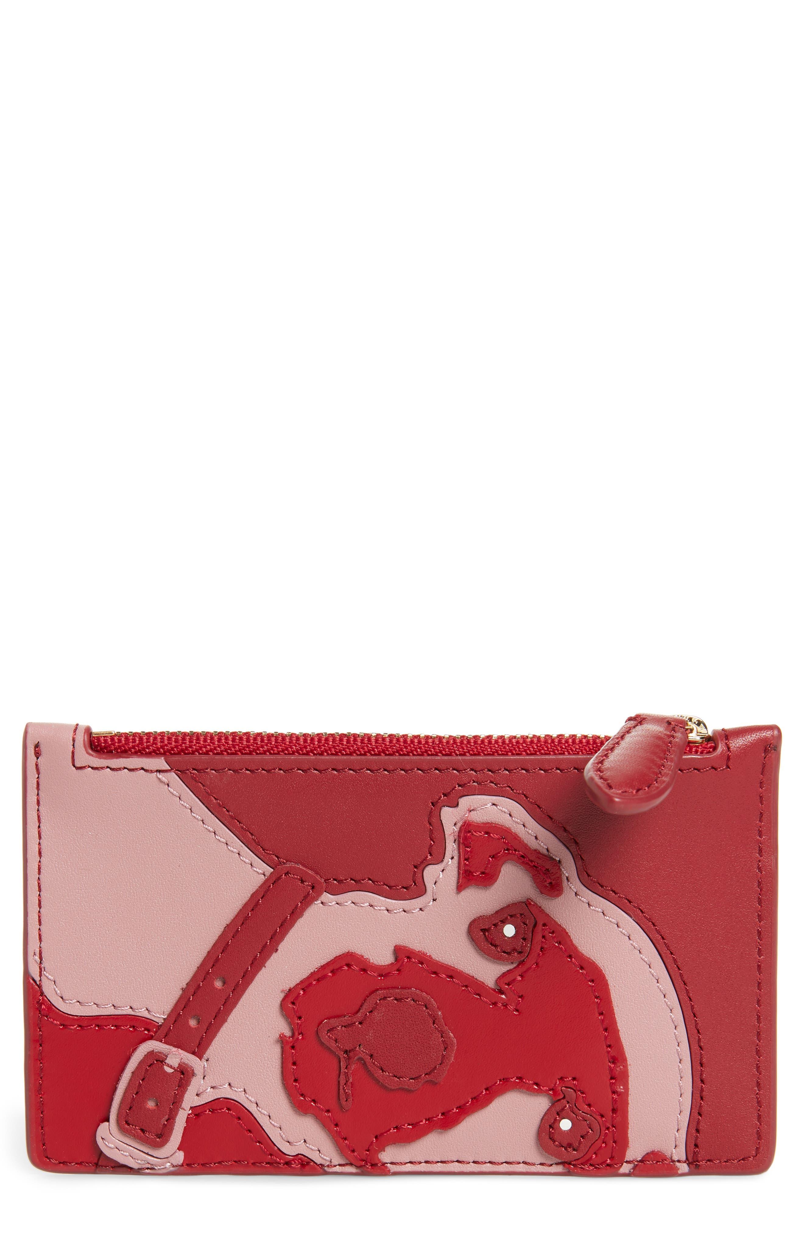 Leather Card Case,                         Main,                         color, Purple