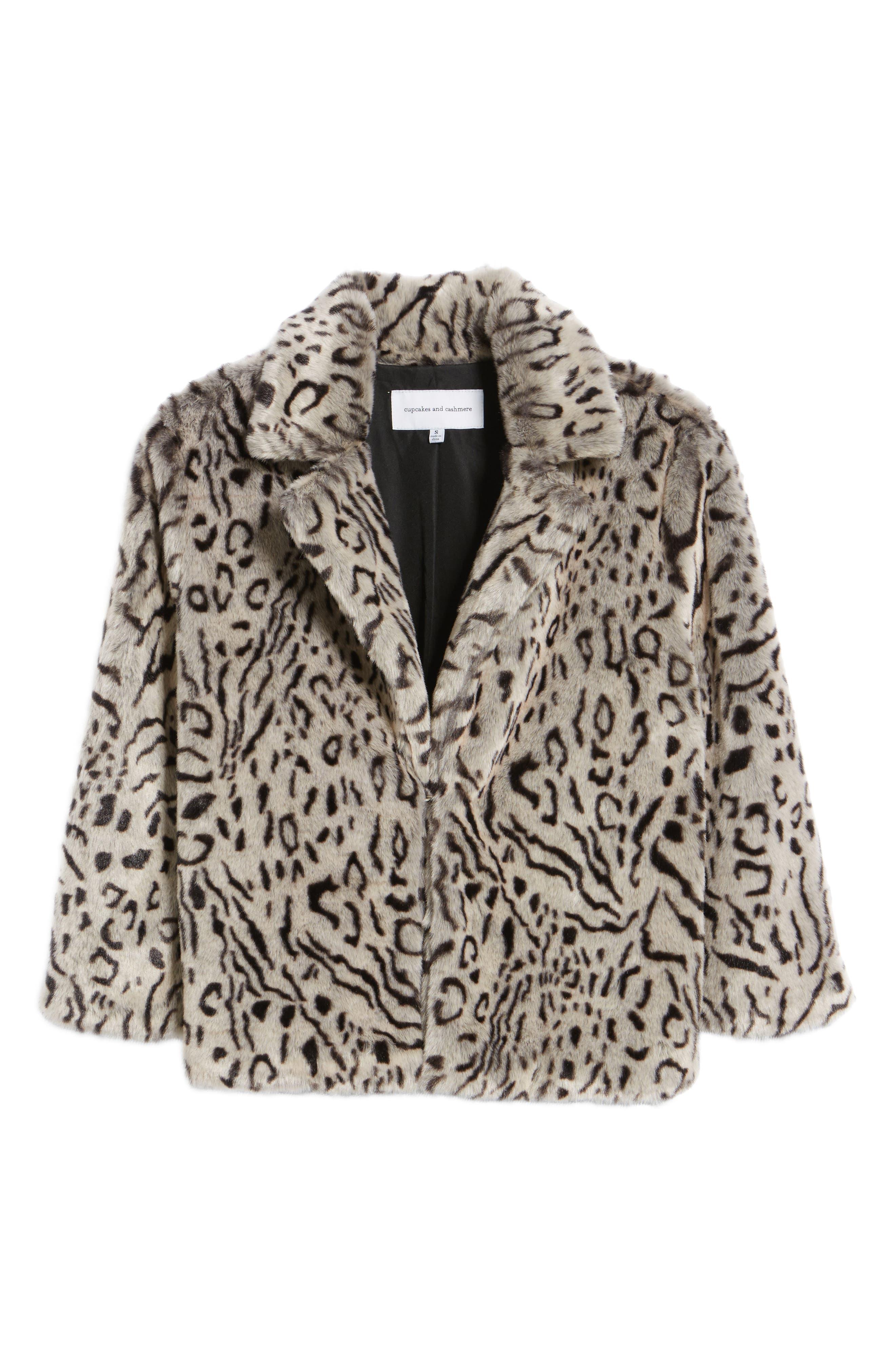 Belle Faux Fur Jacket,                             Alternate thumbnail 6, color,                             Snow Leopard
