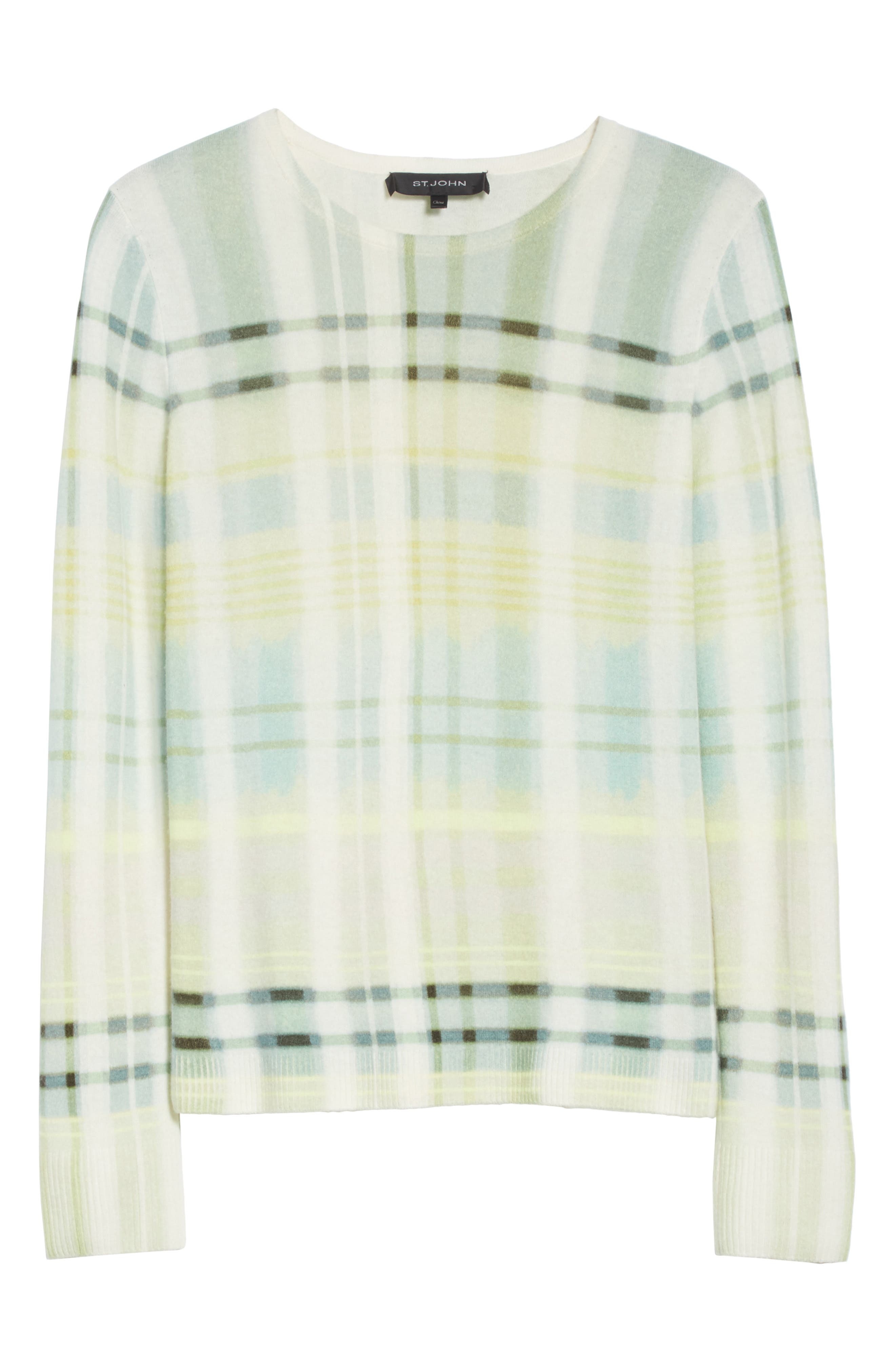 Alternate Image 6  - St. John Collection Plaid Cashmere Sweater