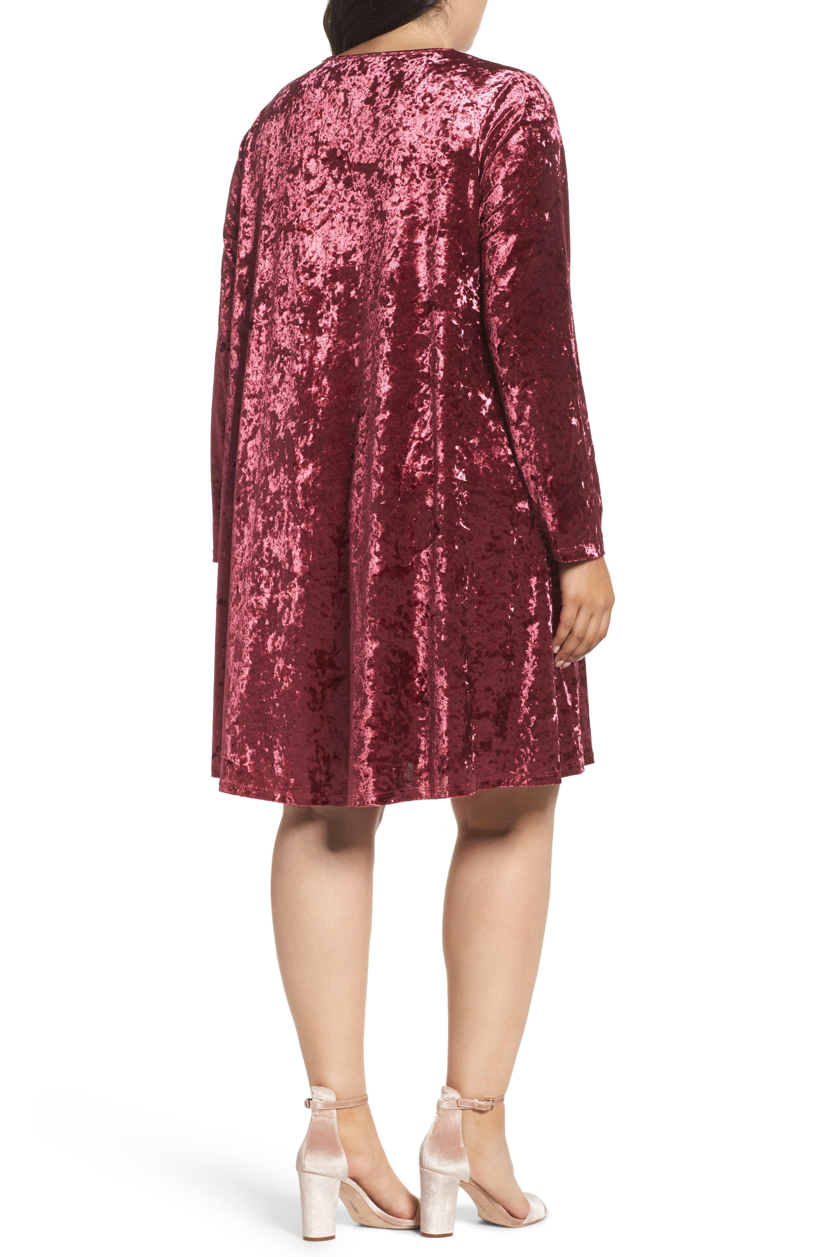Alternate Image 2  - Glamorous Velvet Shift Dress (Plus Size)