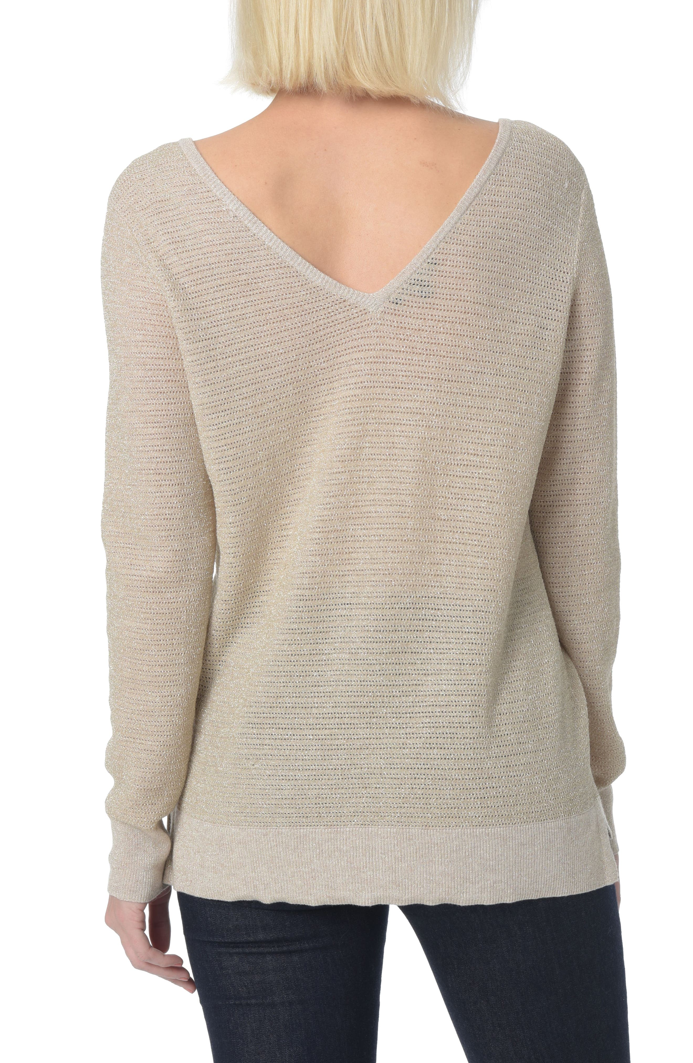 Double V-Neck Sweater,                             Alternate thumbnail 2, color,                             Heather Vanilla