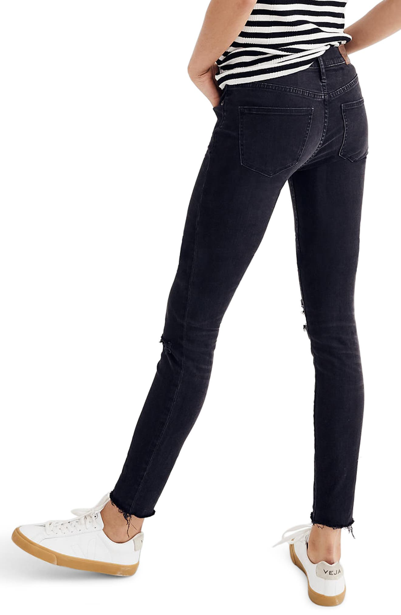 Alternate Image 2  - Madewell 9-Inch High Waist Skinny Jeans (Black Sea)