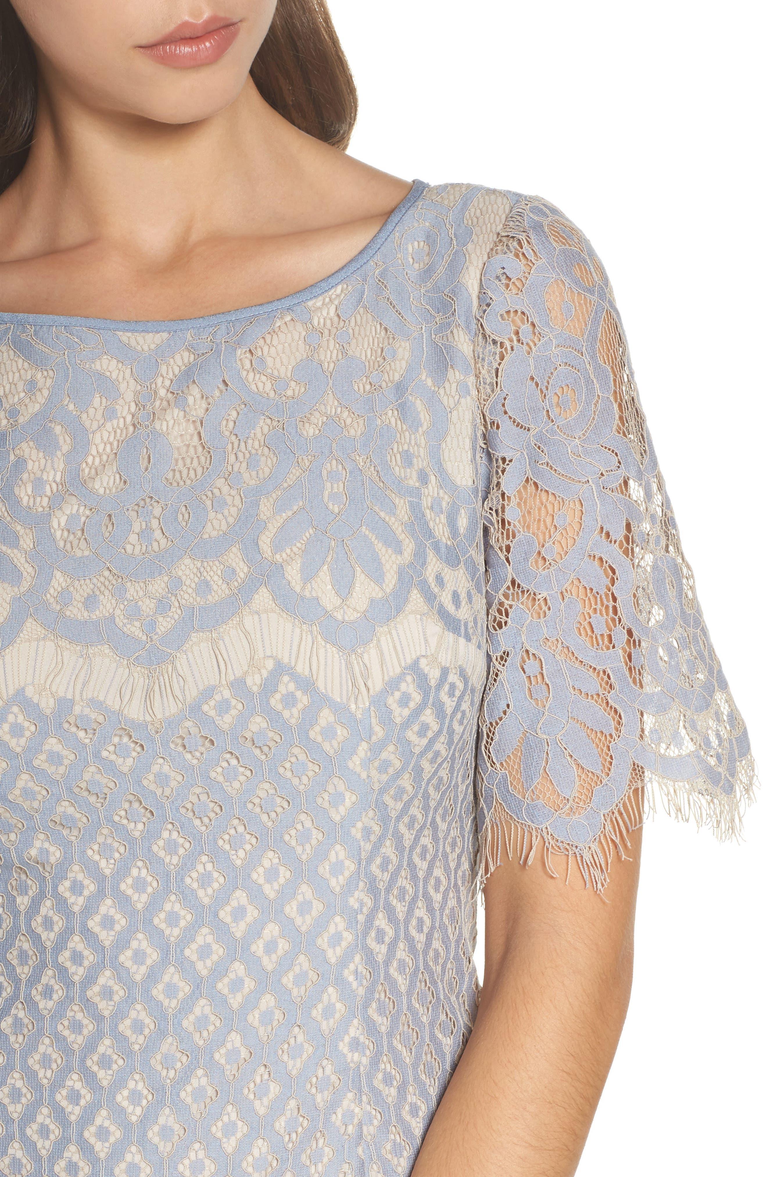 Alternate Image 4  - Adrianna Papell Georgia Lace Sheath Dress (Regular & Petite)