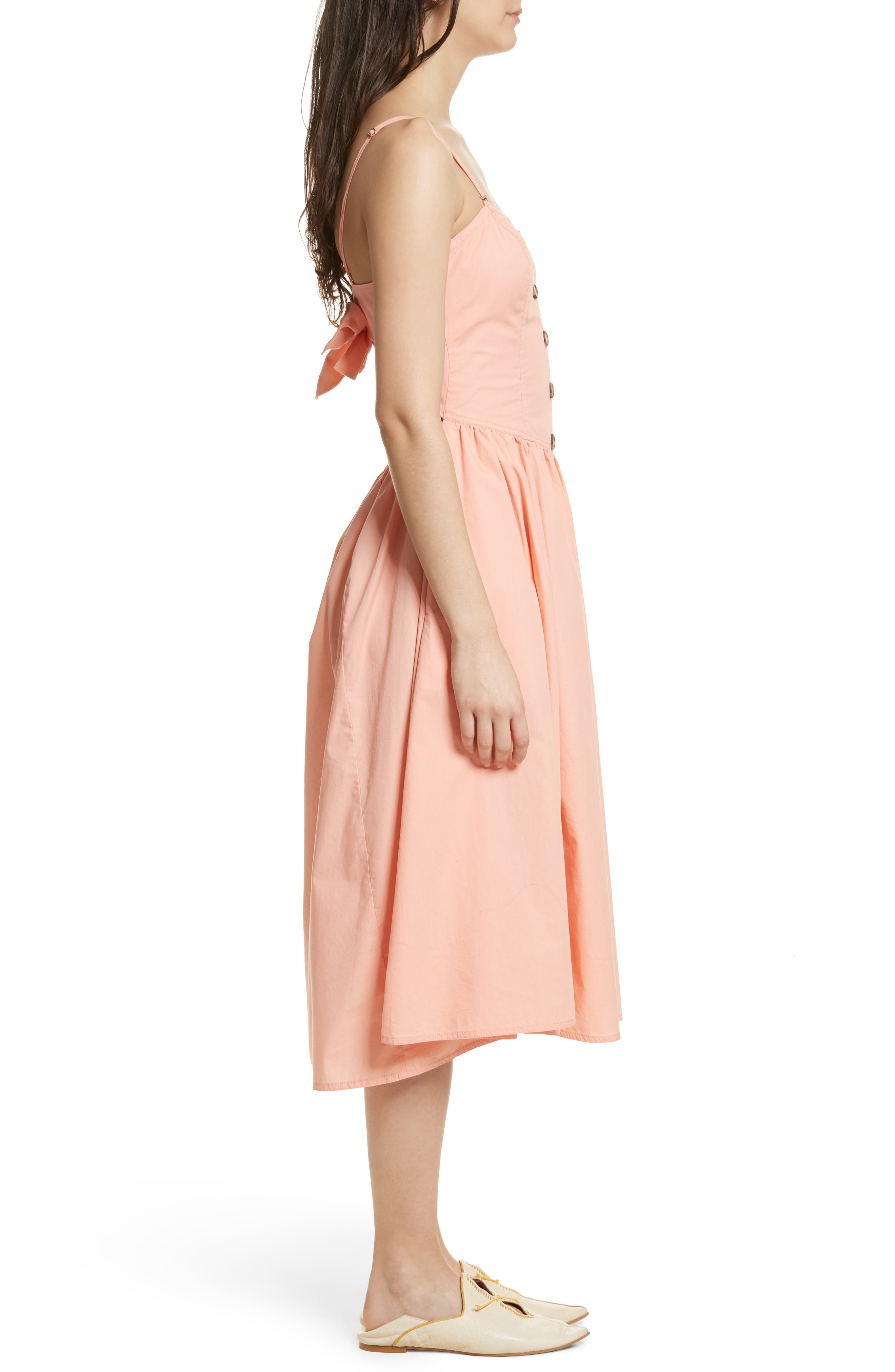 Perfect Peach Poplin Midi Dress,                             Alternate thumbnail 4, color,                             Pink