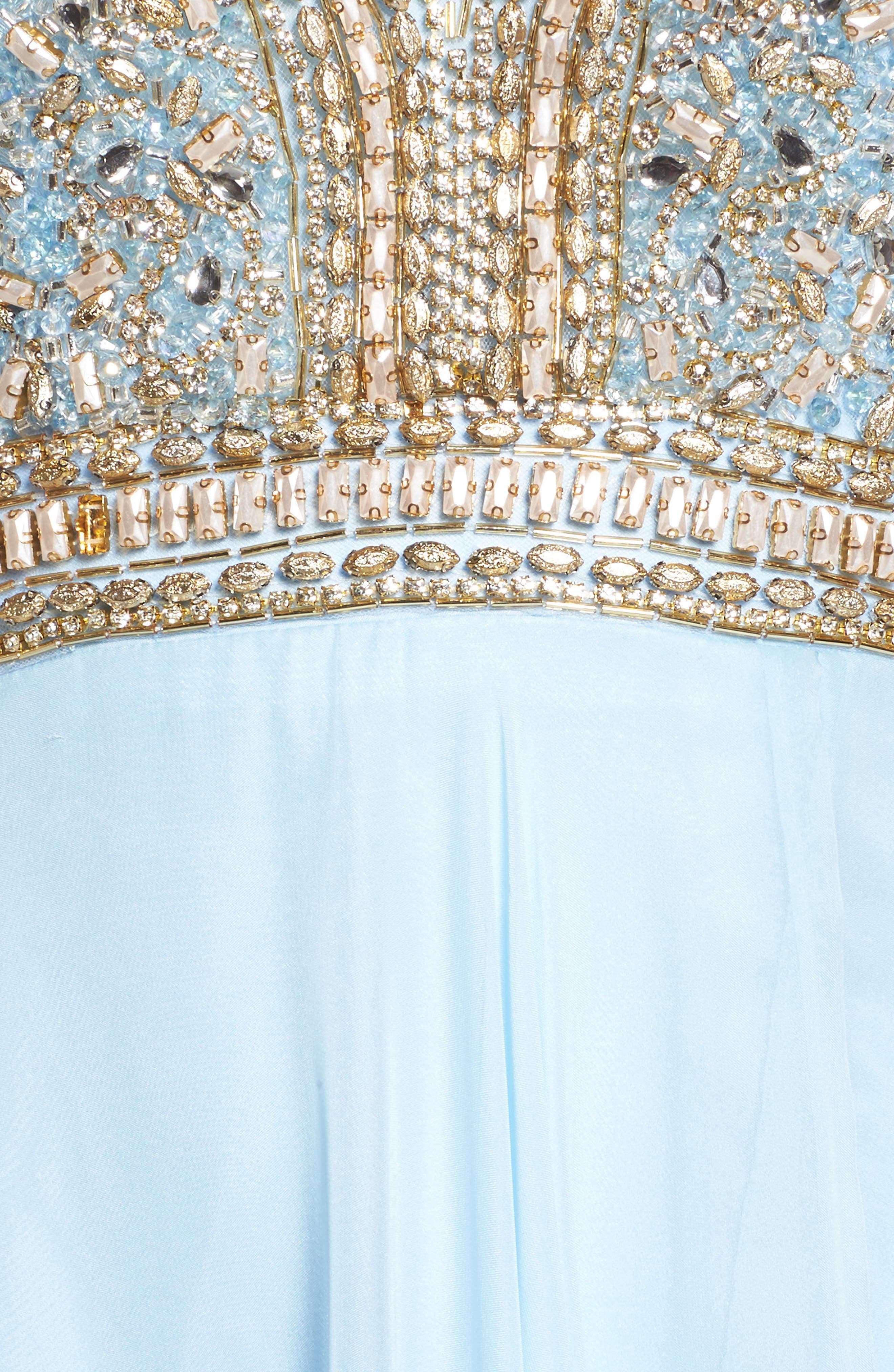 Beaded Cutout Bodice Gown,                             Alternate thumbnail 5, color,                             Ice Blue