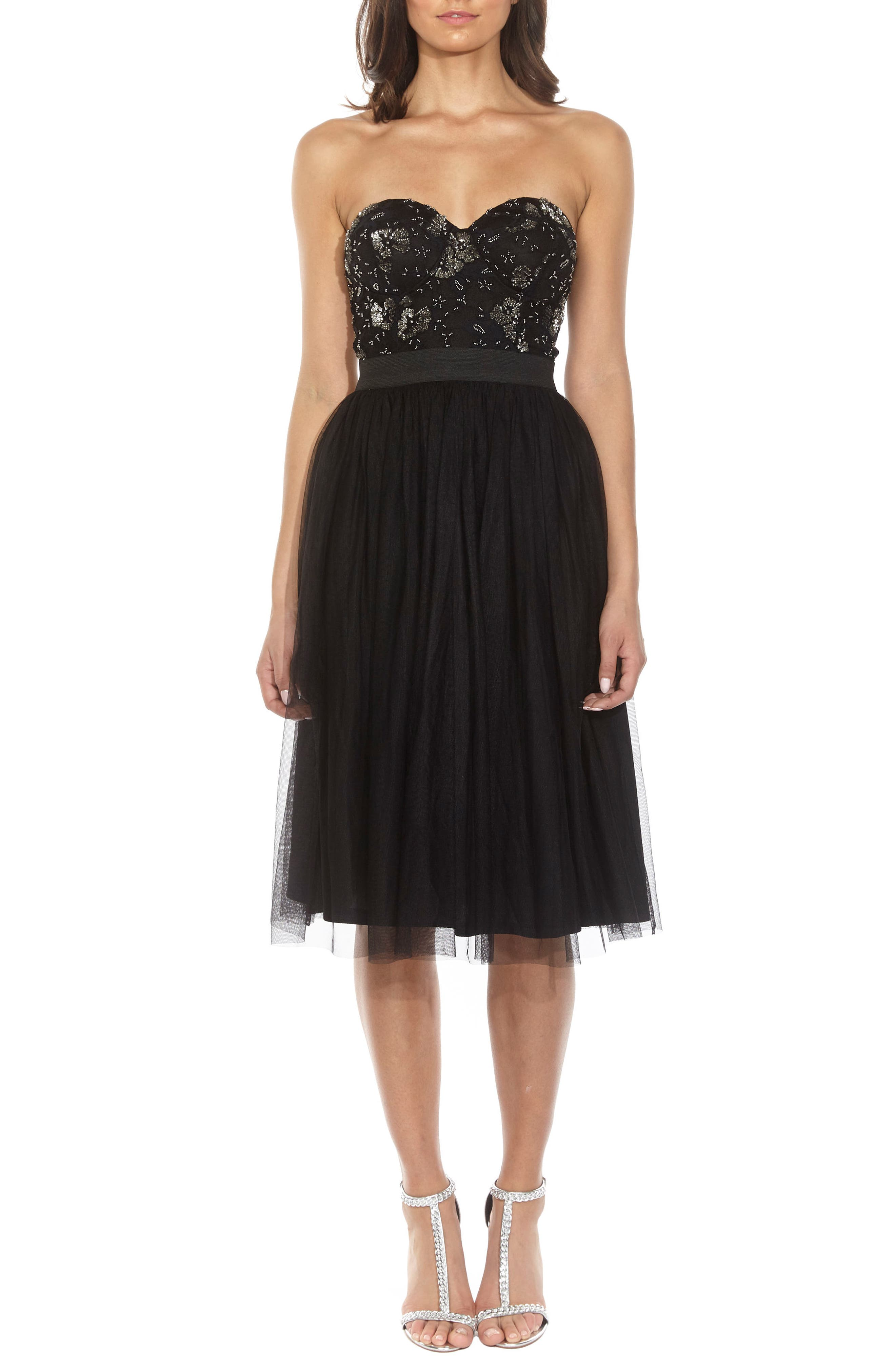 Main Image - Lace & Beads Mika Embellished Strapless Dress