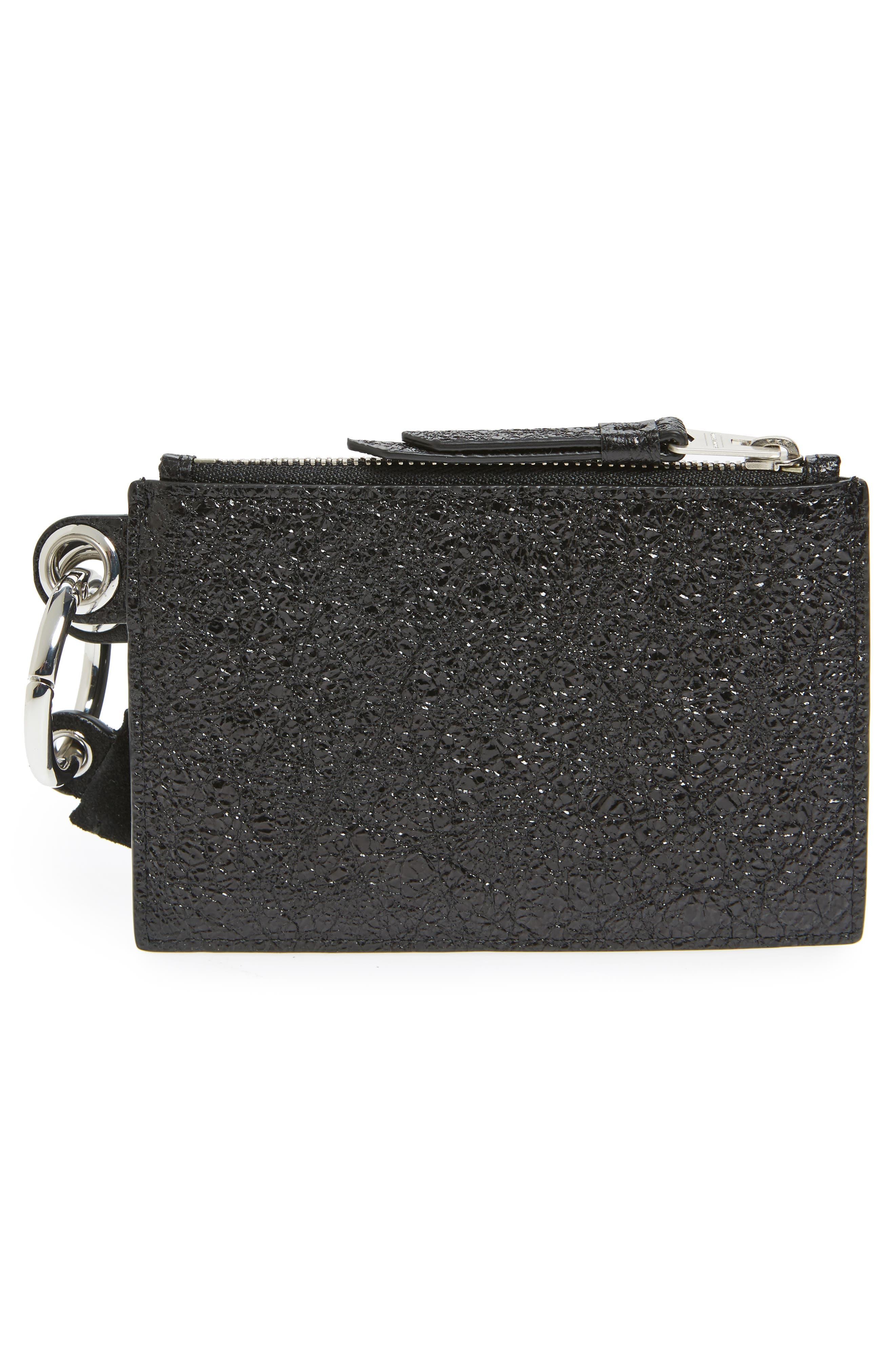 Dive Key Fob Leather Zip Pouch & Card Case,                             Alternate thumbnail 4, color,                             Black