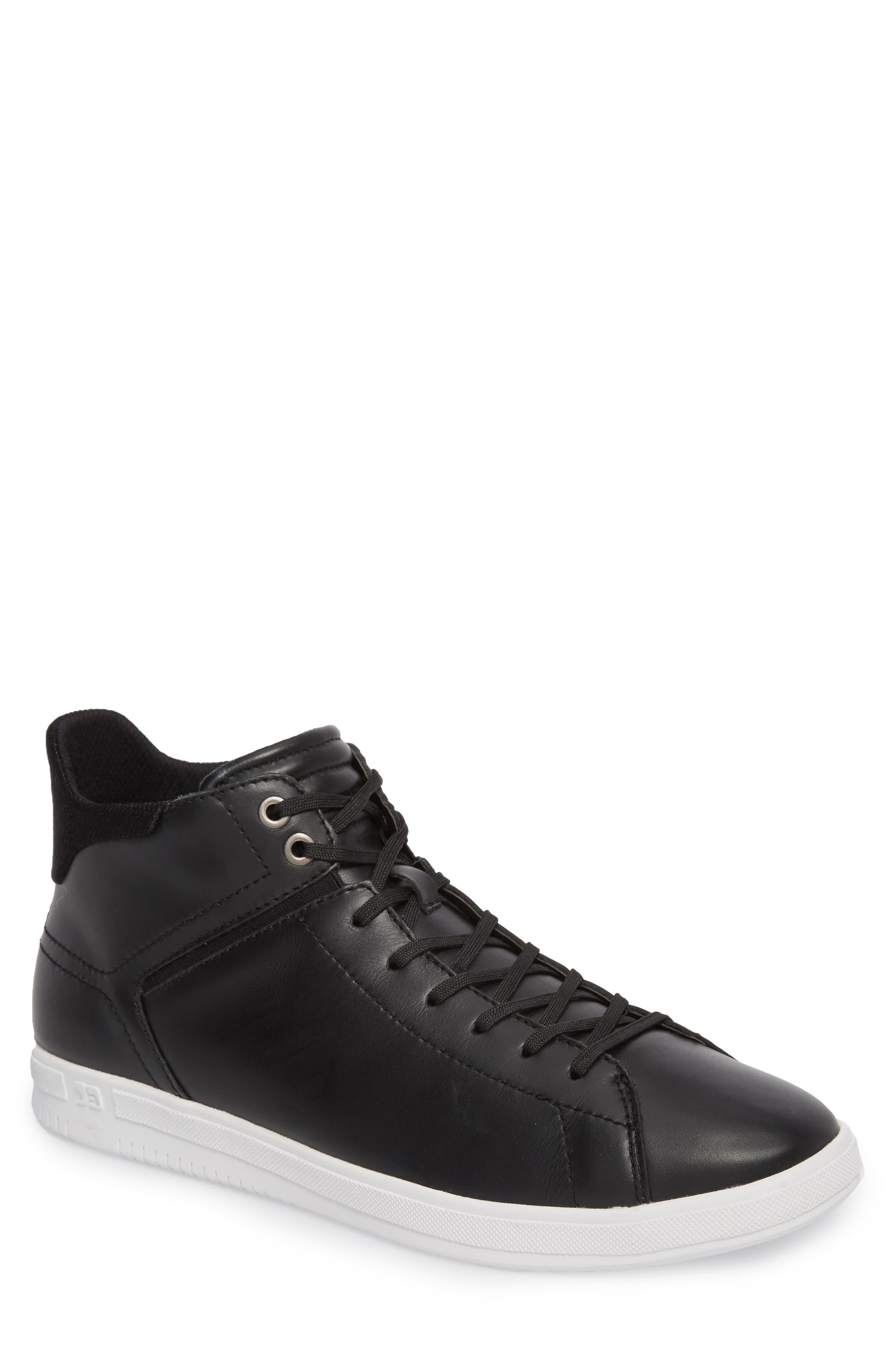 Joe Z Mid Top Sneaker,                         Main,                         color, Black Leather
