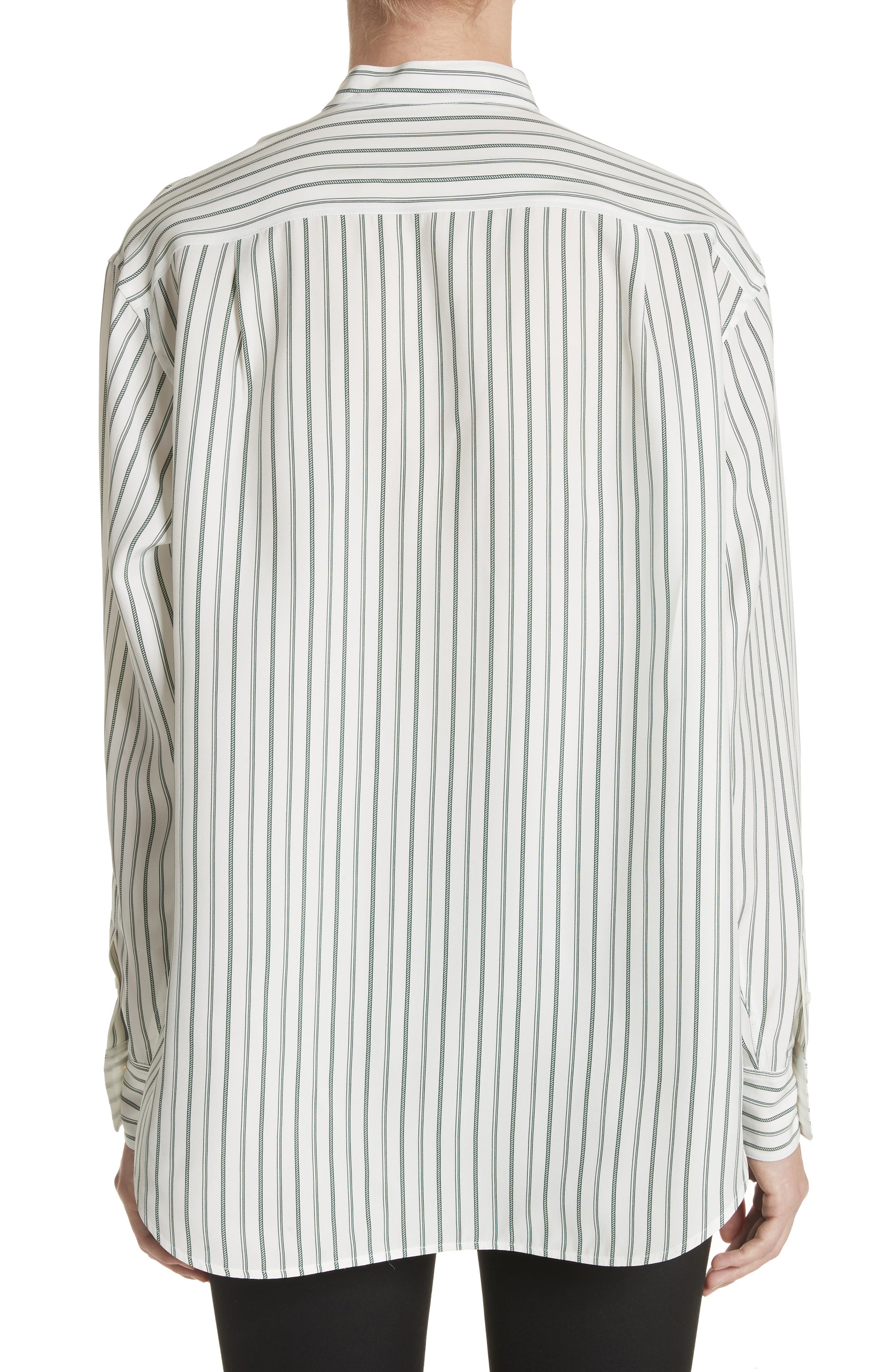 Stripe Silk Granddad Shirt,                             Alternate thumbnail 2, color,                             Dark Green/ Off White