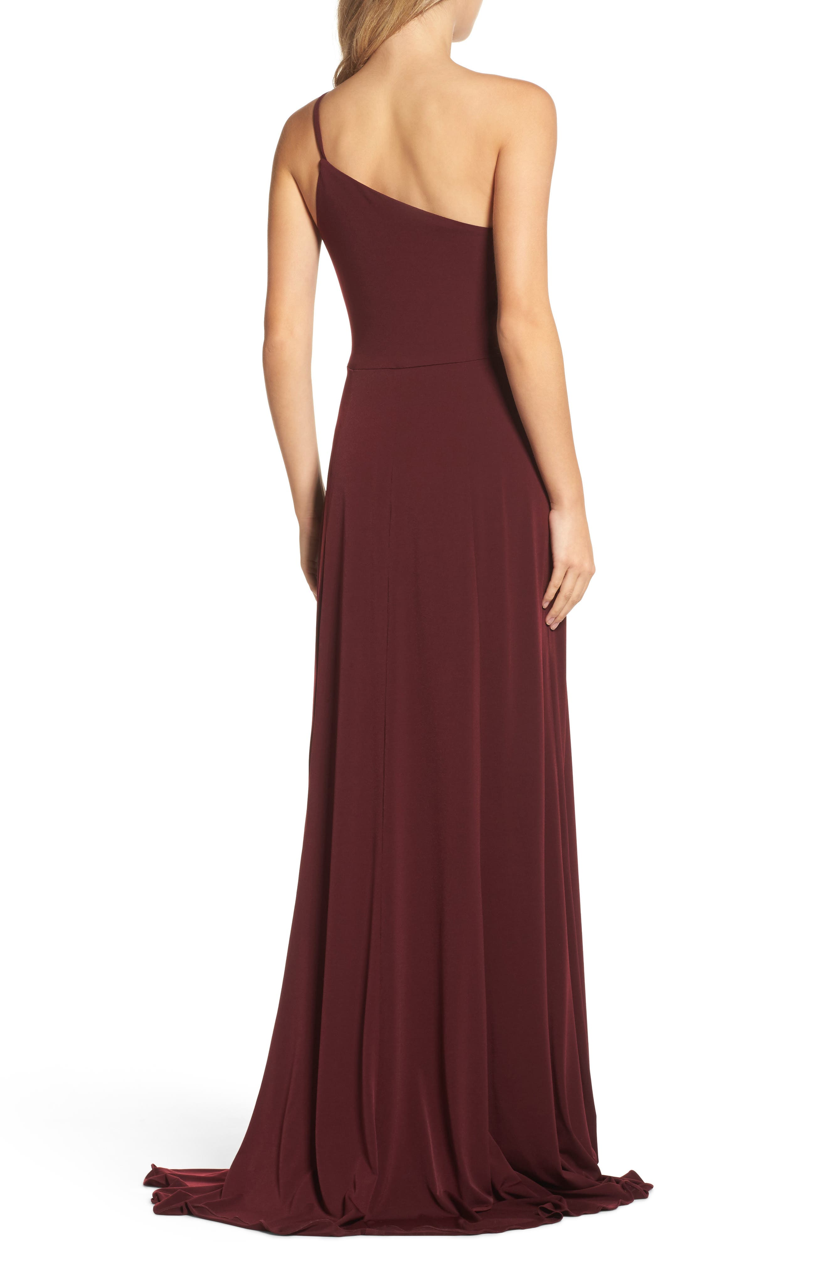 Jersey One-Shoulder Gown,                             Alternate thumbnail 2, color,                             Ruby