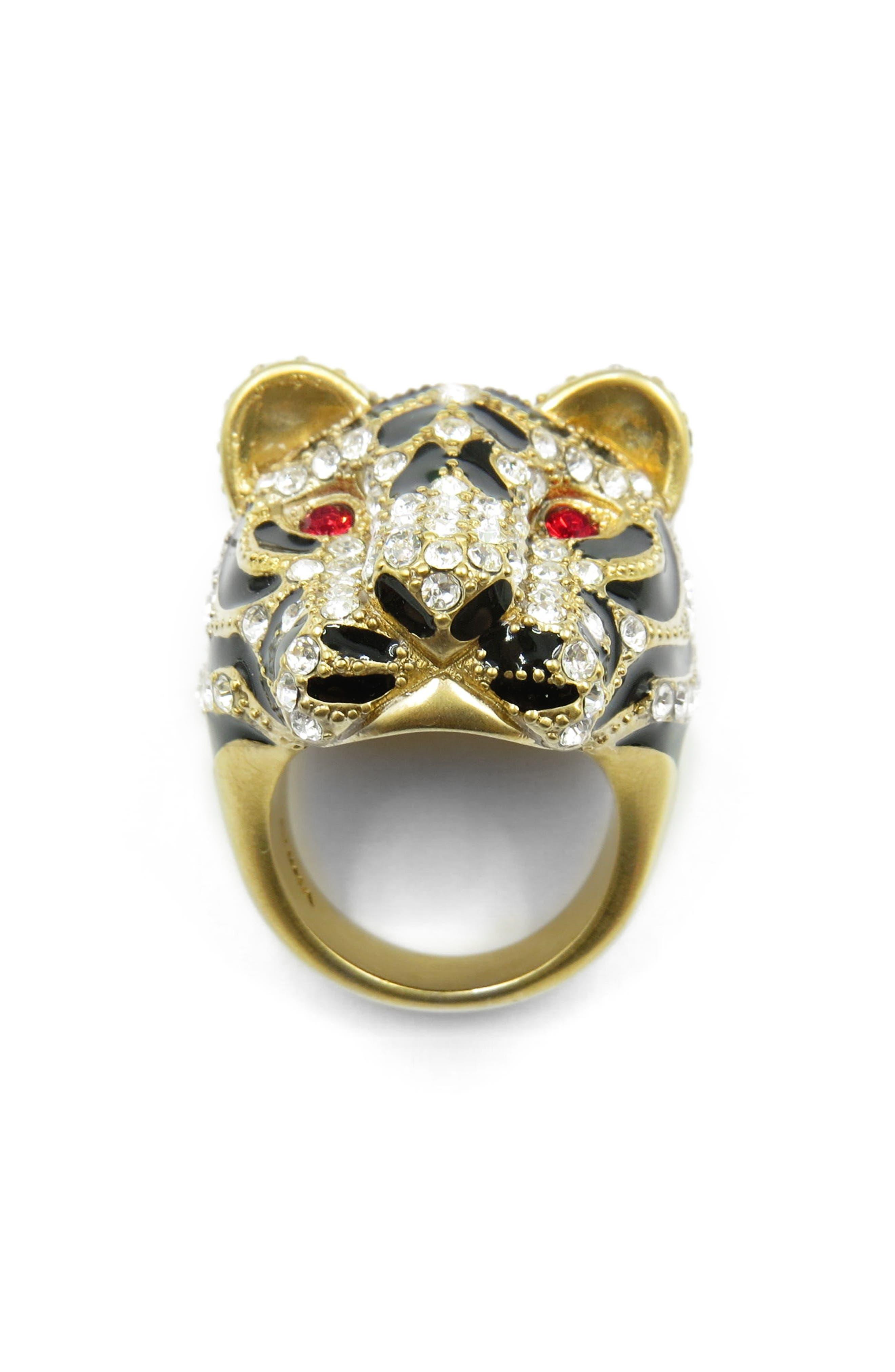 Tiger Head Ring,                             Main thumbnail 1, color,                             Gold