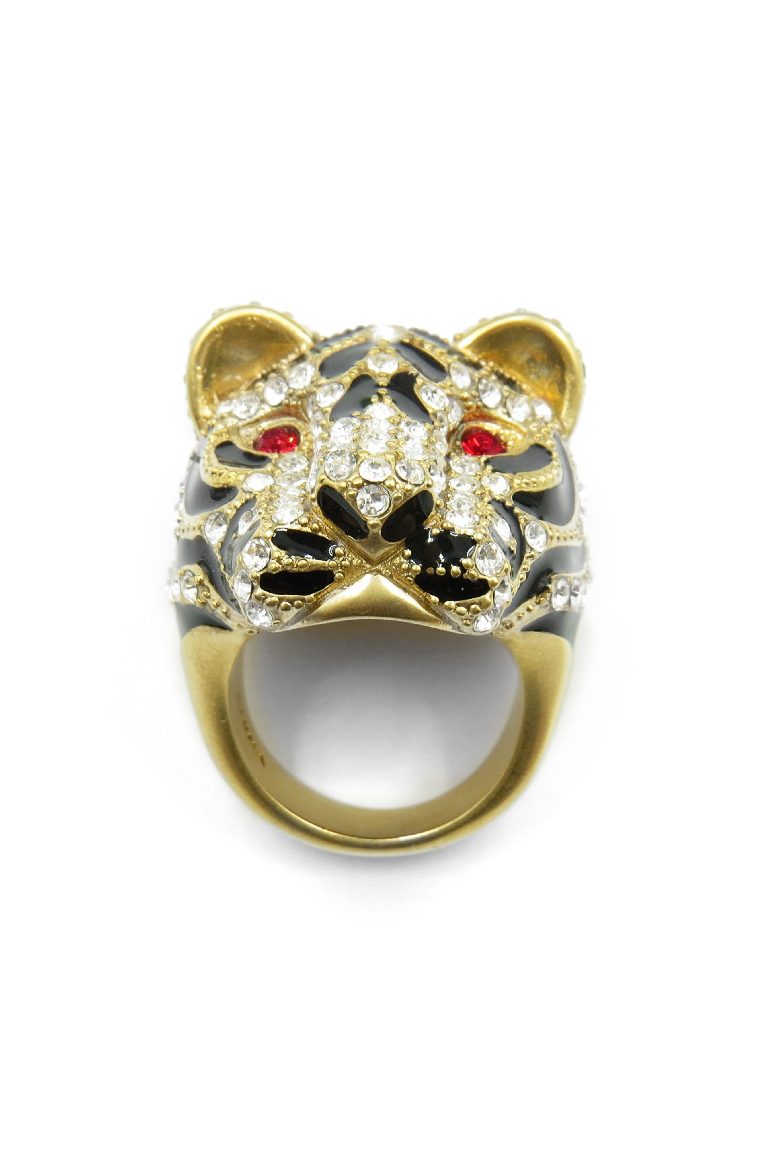 Tiger Head Ring,                         Main,                         color, Gold