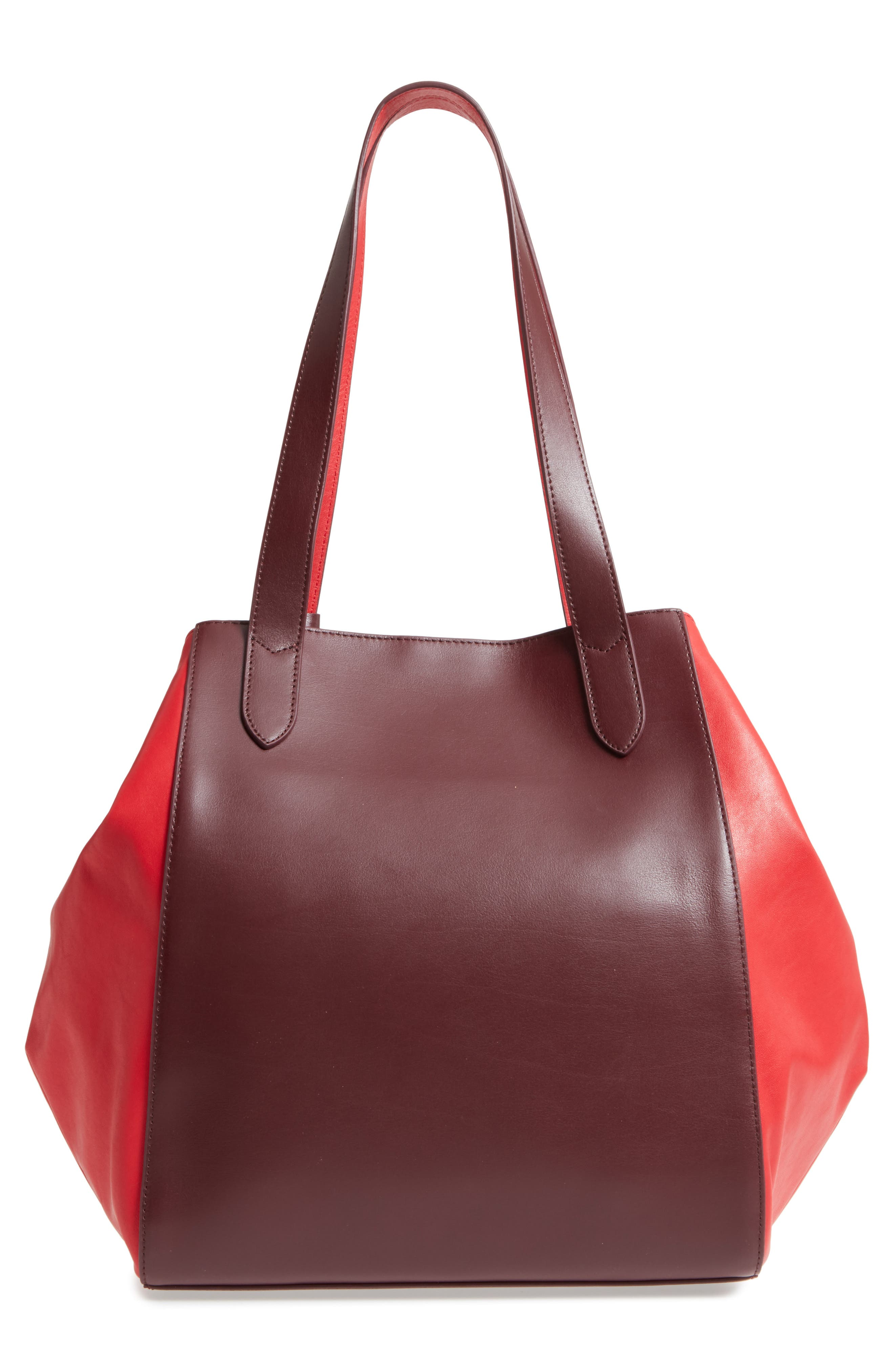 Downtown Charlize RFID Leather Tote,                             Alternate thumbnail 3, color,                             Red/ Chianti