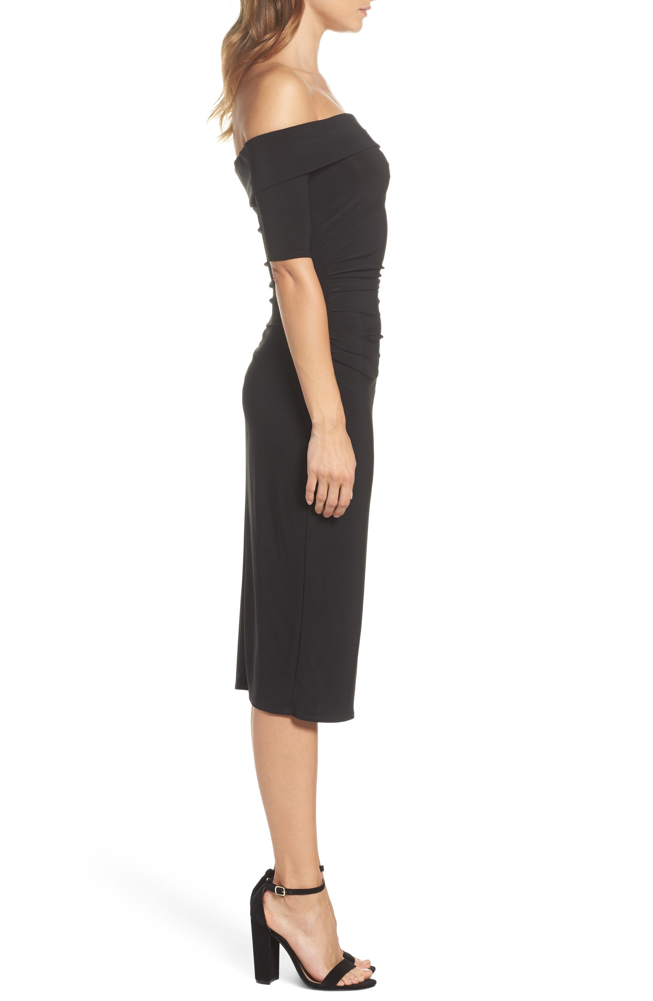 Jacey Off the Shoulder Sheath Dress,                             Alternate thumbnail 3, color,                             Black
