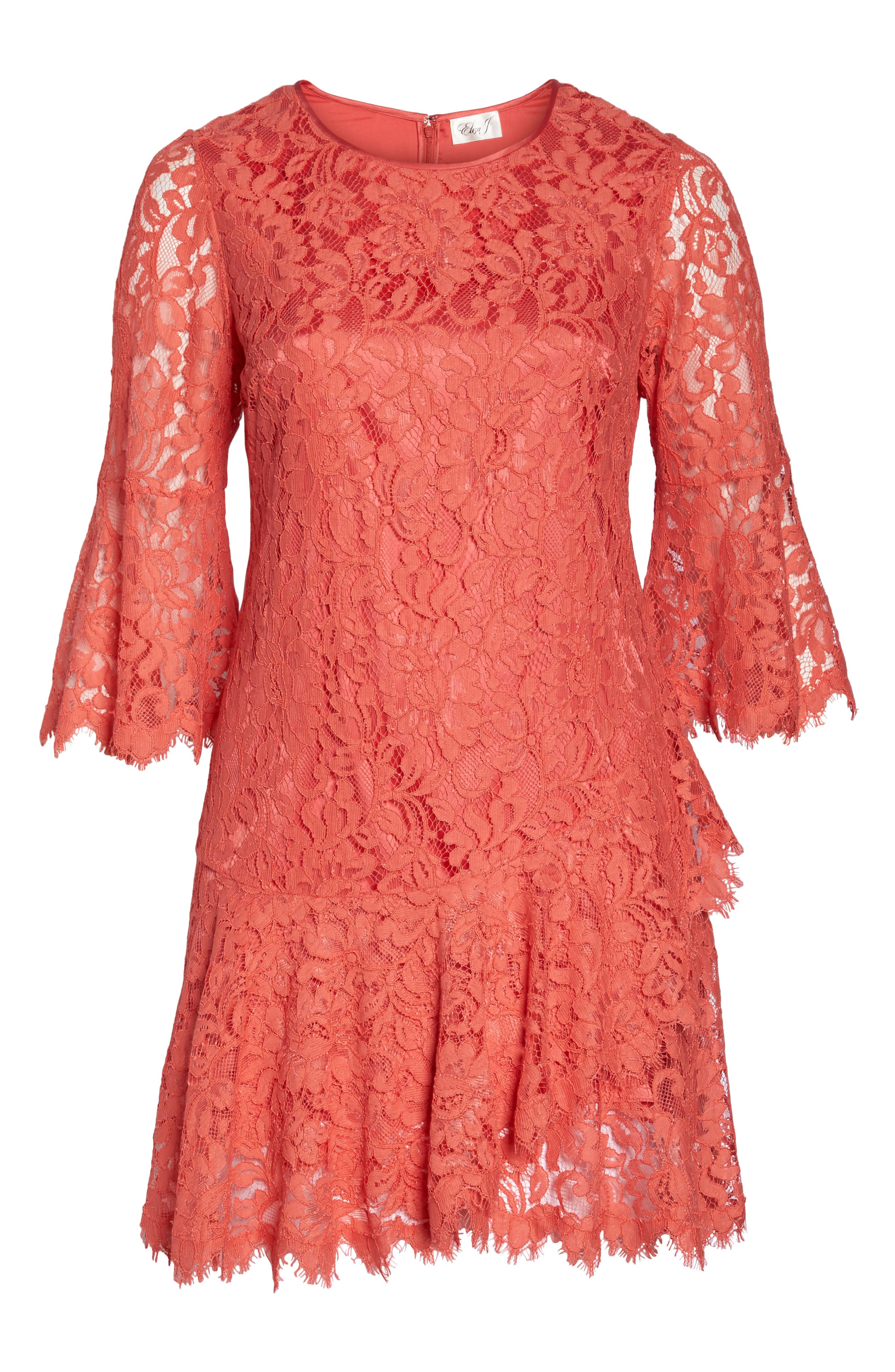 Bell Sleeve Lace Shift Dress,                             Alternate thumbnail 6, color,                             Coral