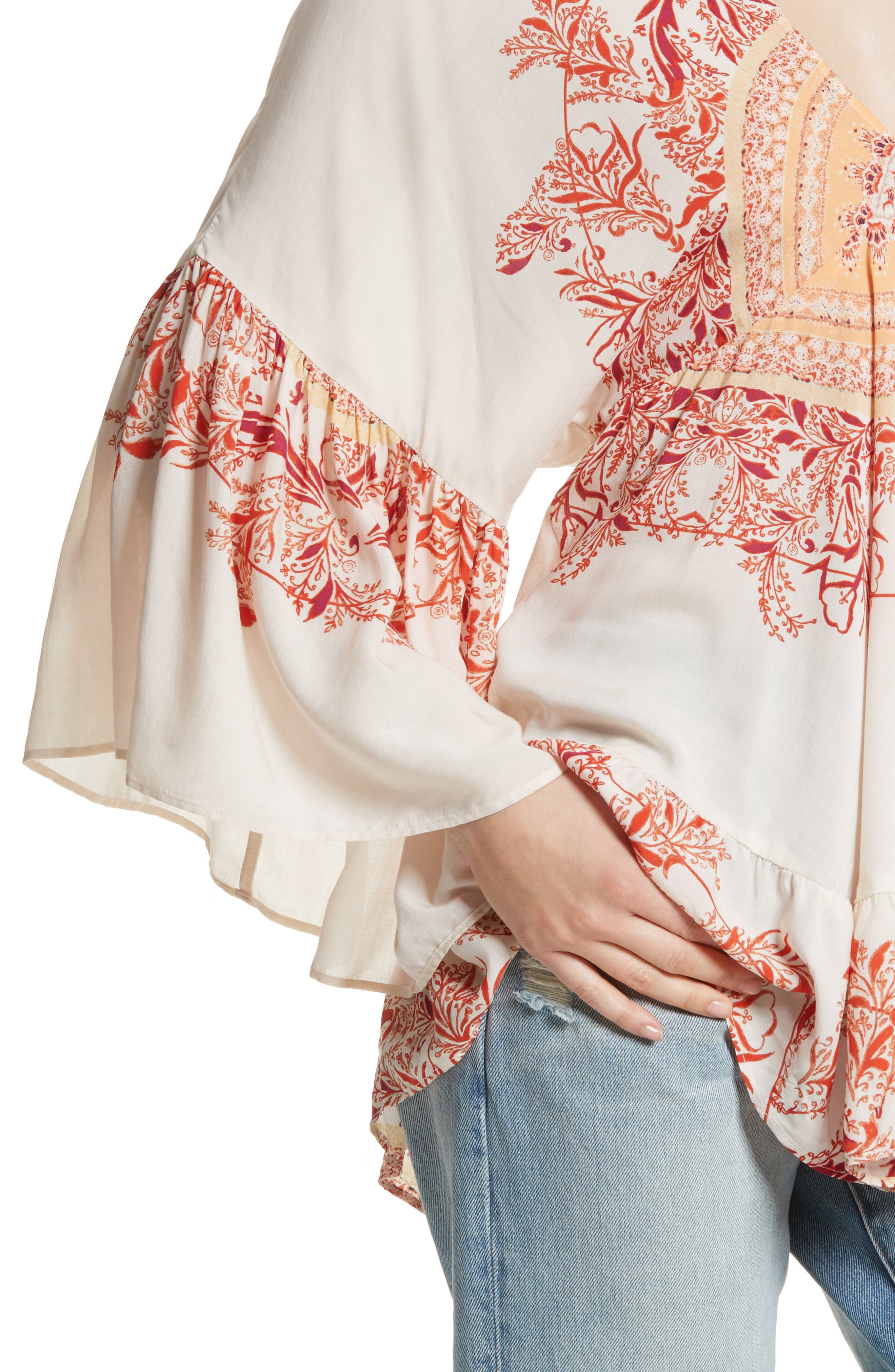 Sunset Dreams Ruffle Top,                             Alternate thumbnail 4, color,                             Sand