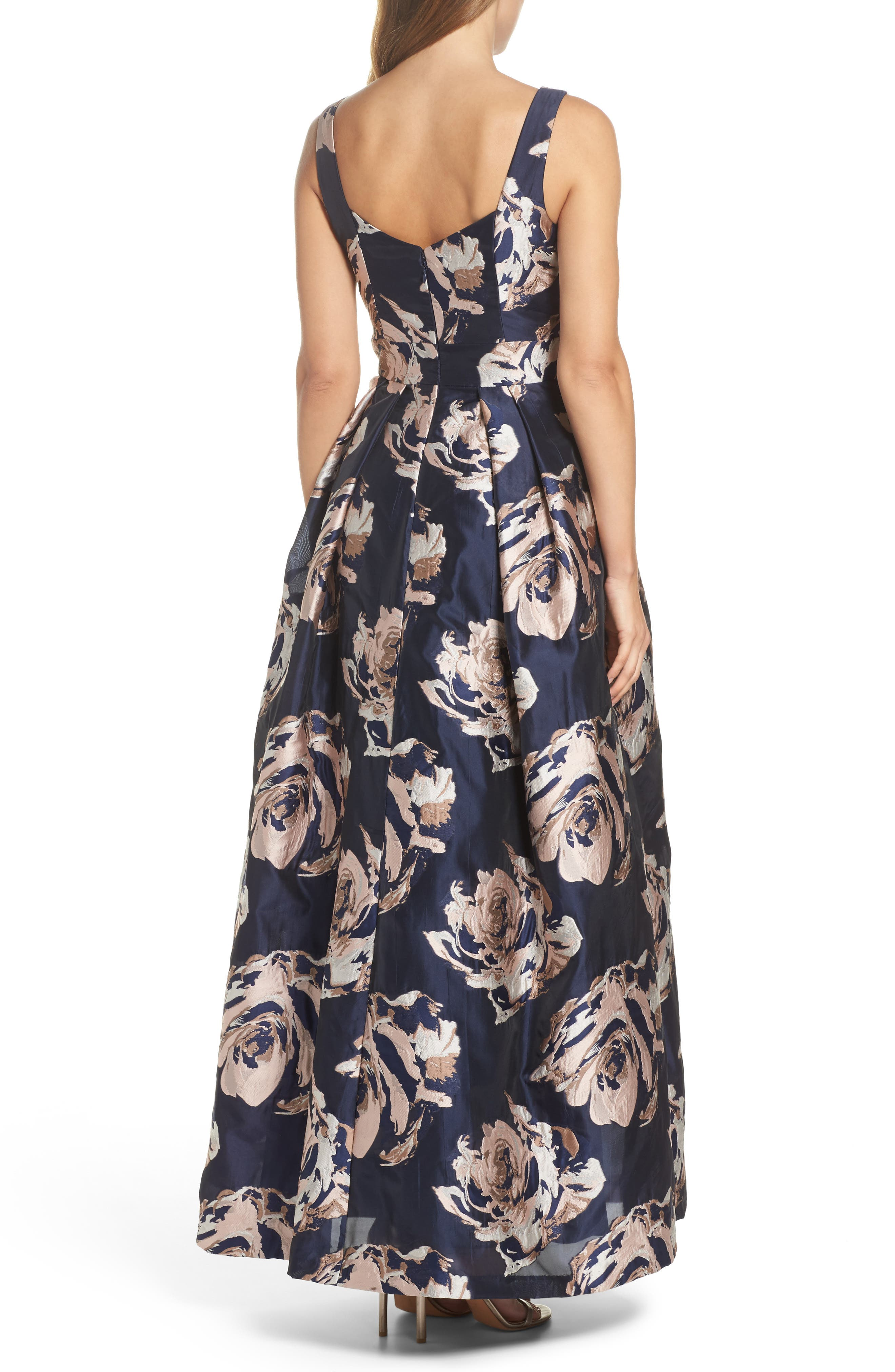 Embellished Floral Ballgown,                             Alternate thumbnail 2, color,                             Navy