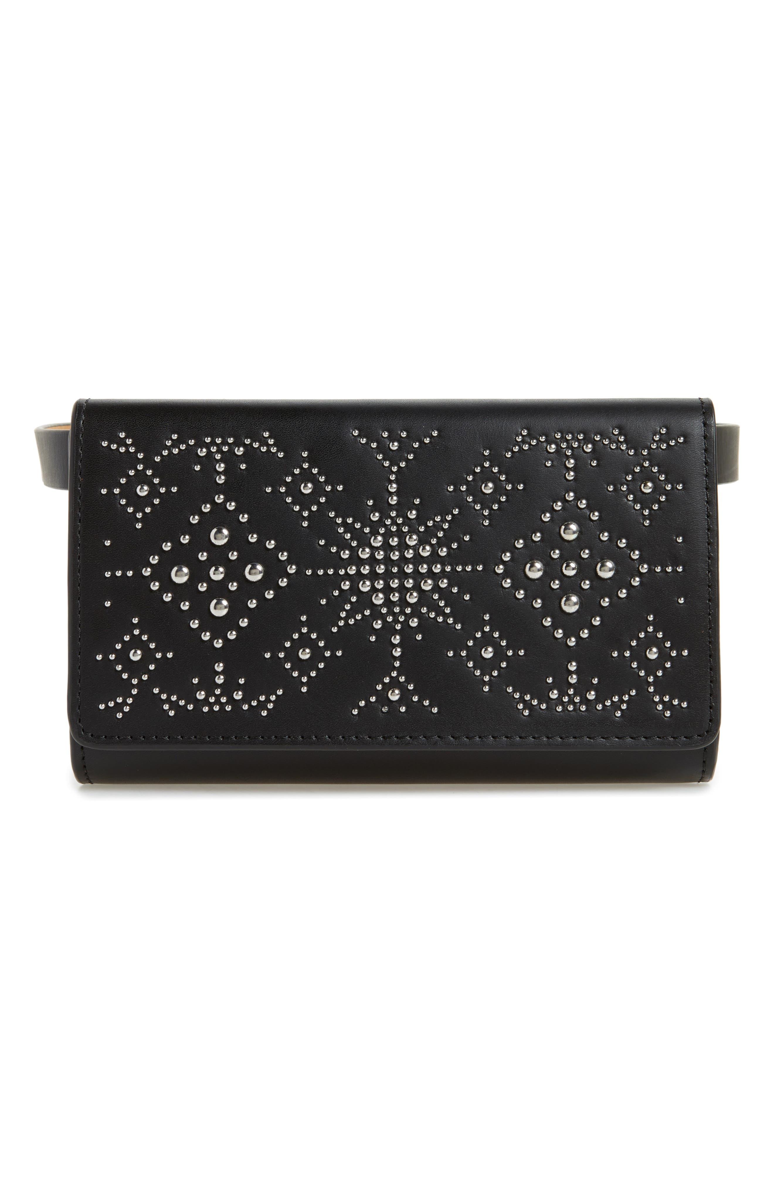 Erin Studded Calfskin Leather Belt Bag,                             Main thumbnail 1, color,                             Black