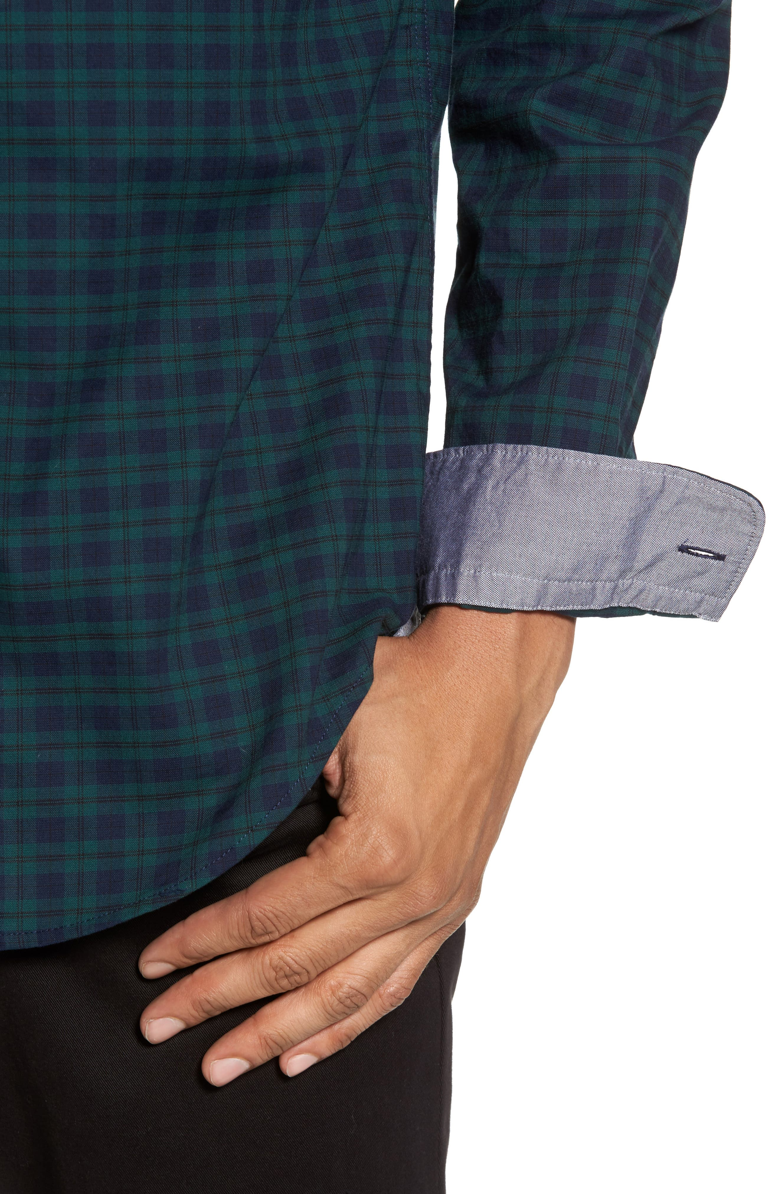 Rod Trim Fit Check Oxford Sport Shirt,                             Alternate thumbnail 4, color,                             Green