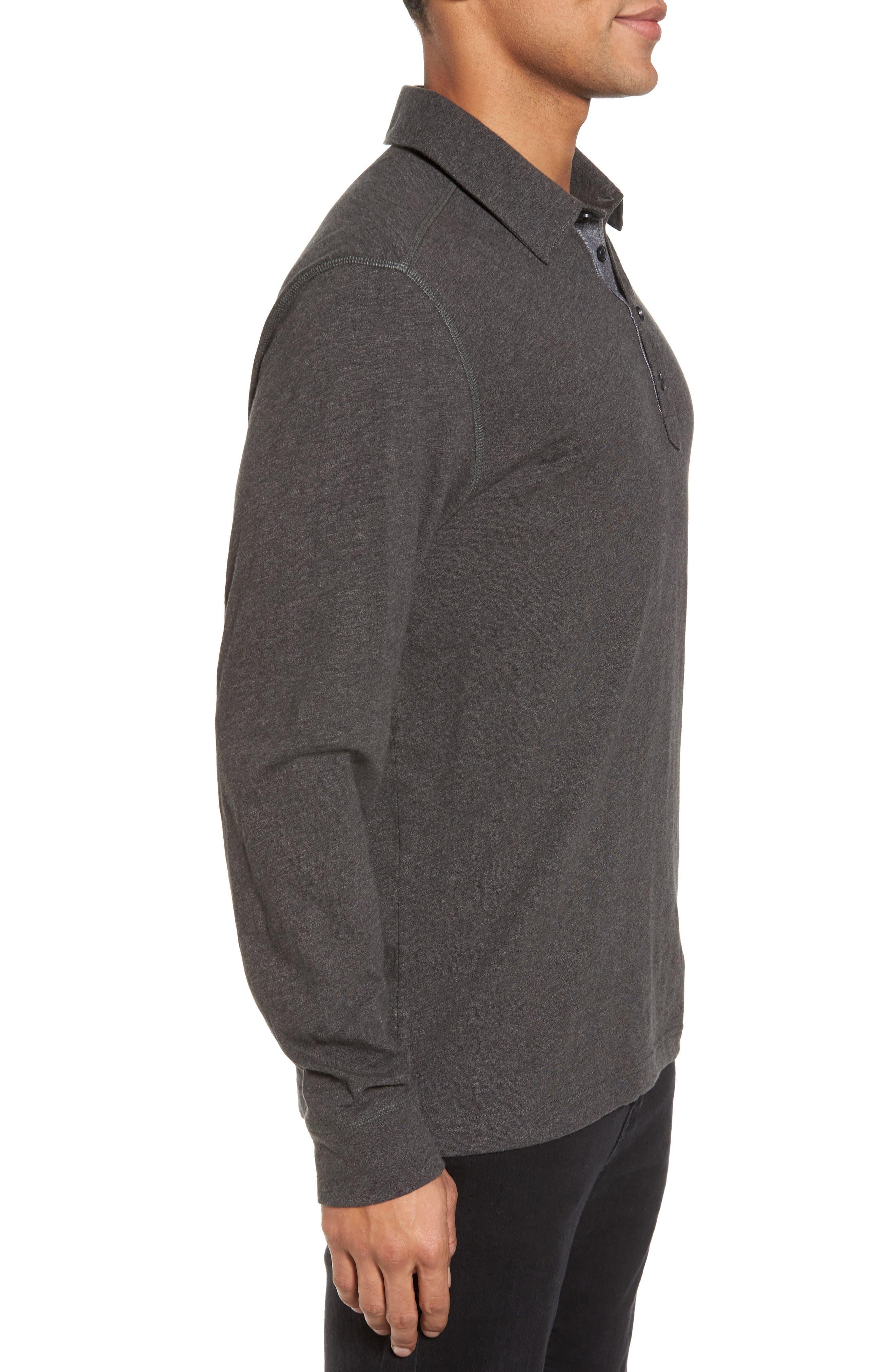 Long Sleeve Polo,                             Alternate thumbnail 3, color,                             Grey Phantom
