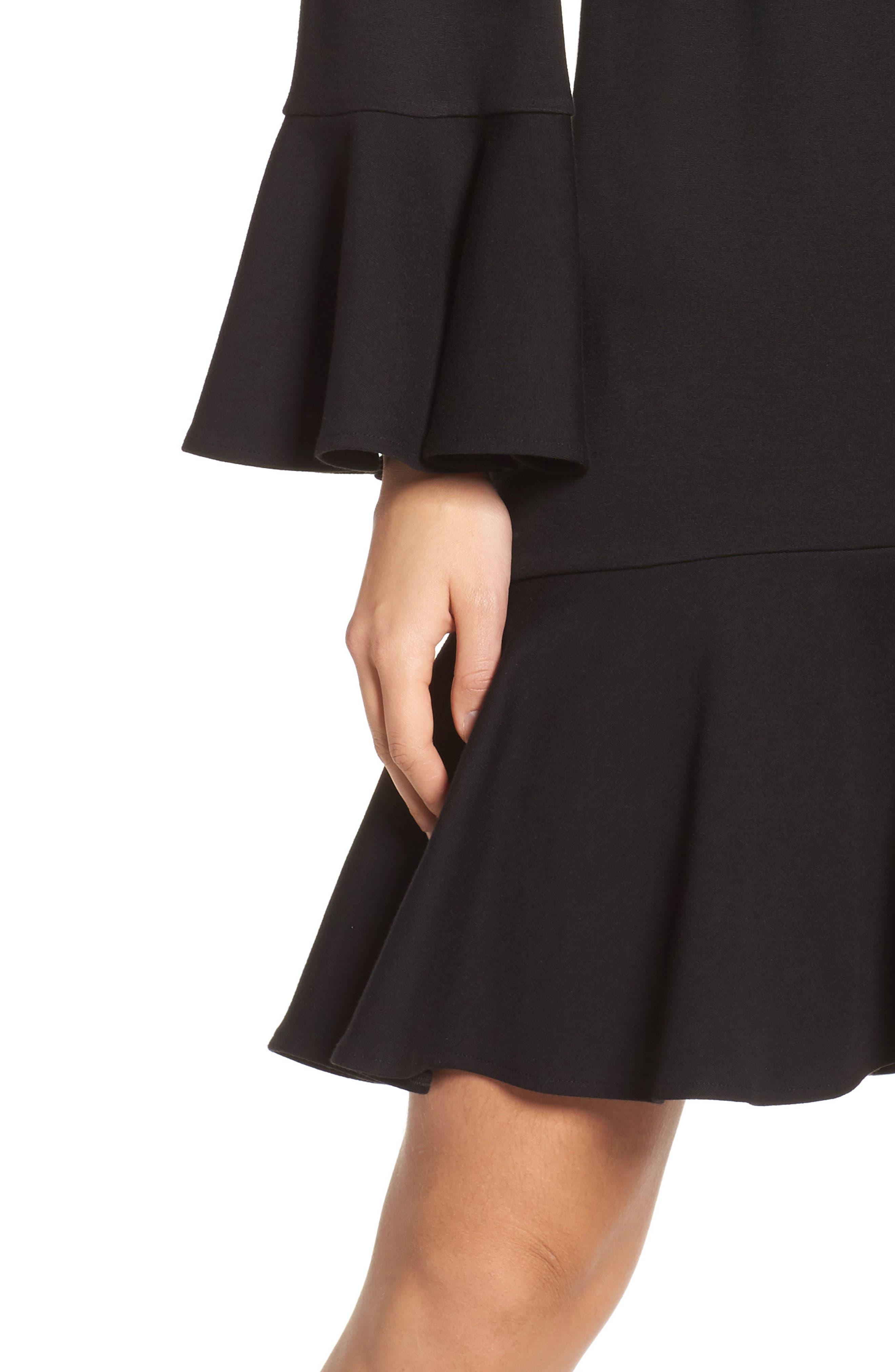 Matuku Lula Bell Sleeve Dress,                             Alternate thumbnail 4, color,                             Black