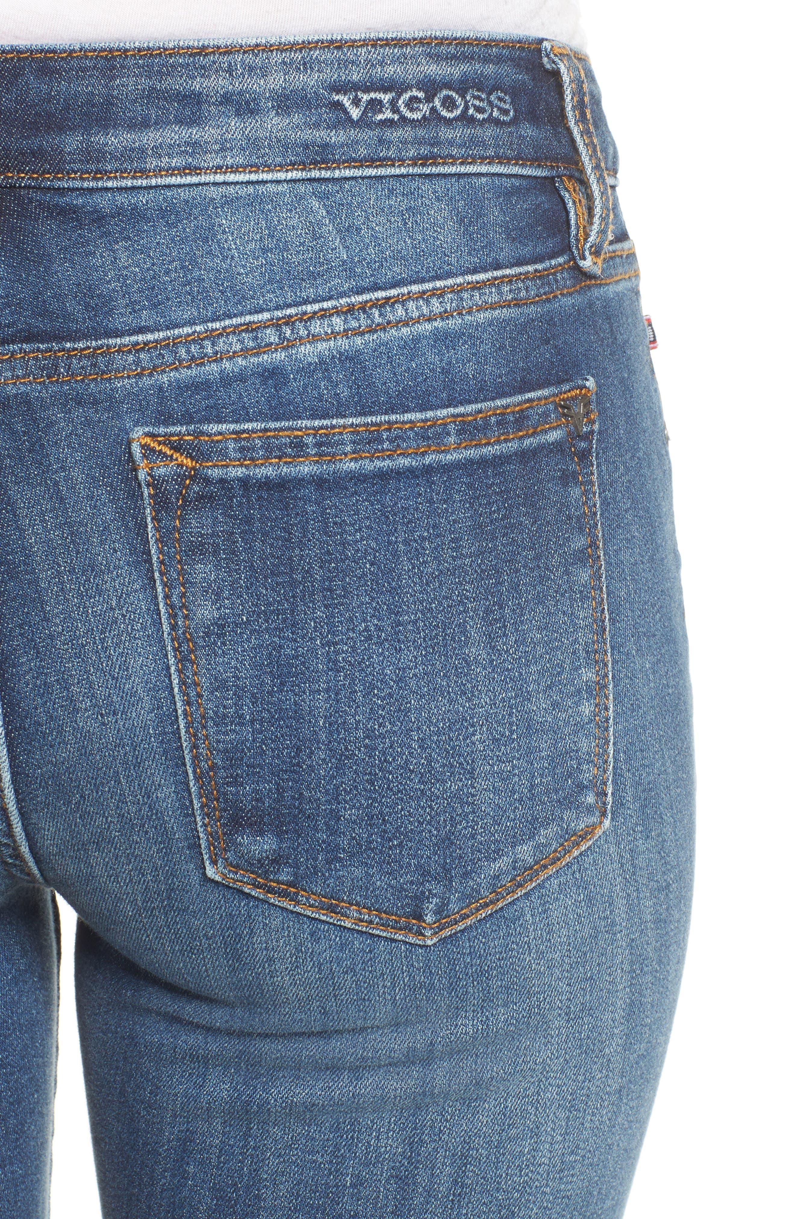 Alternate Image 4  - Vigoss Jagger Mid-Rise Skinny Jeans (Medium Wash)