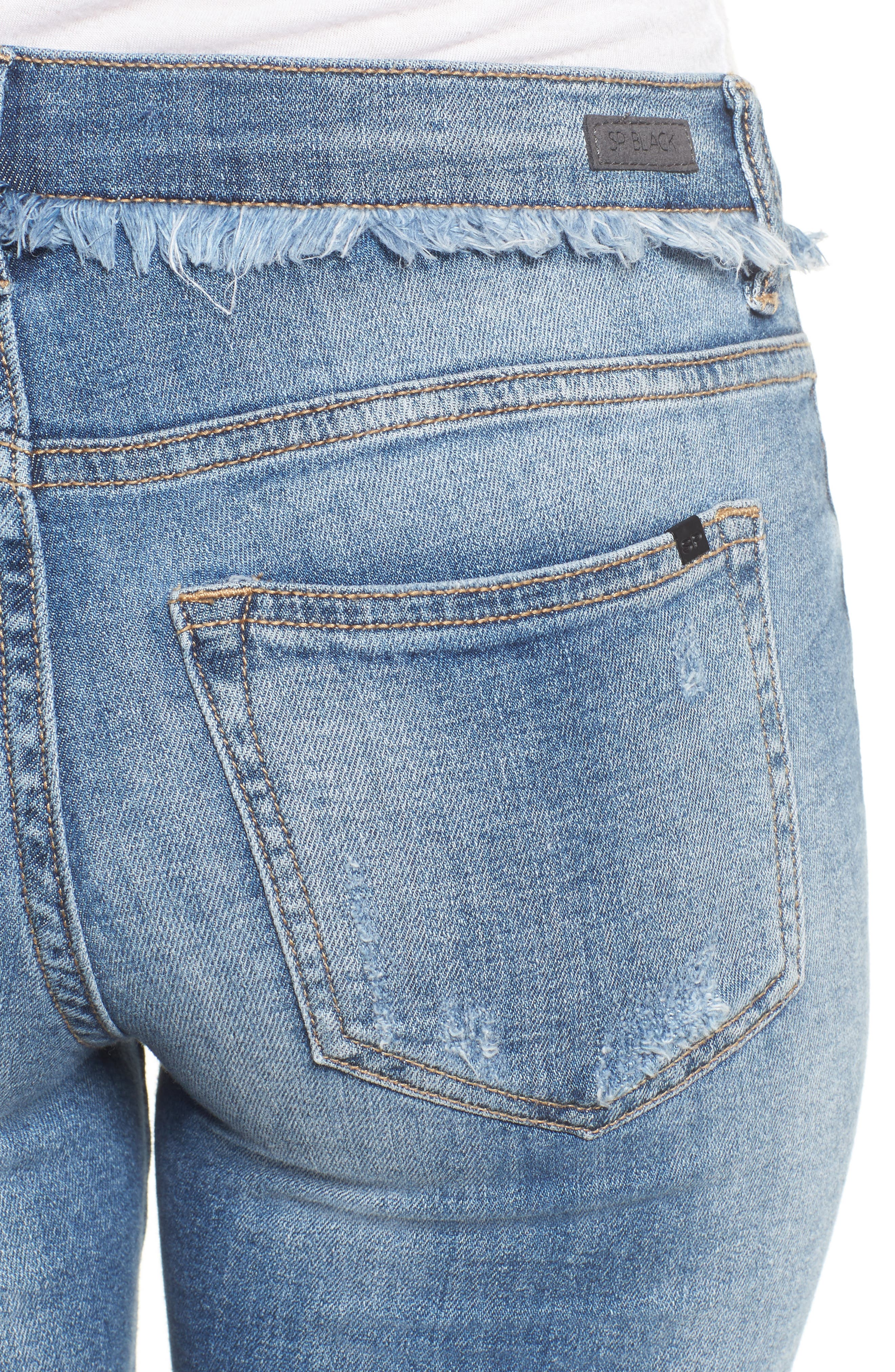 Frayed Waist Skinny Jeans,                             Alternate thumbnail 4, color,                             Medium Light