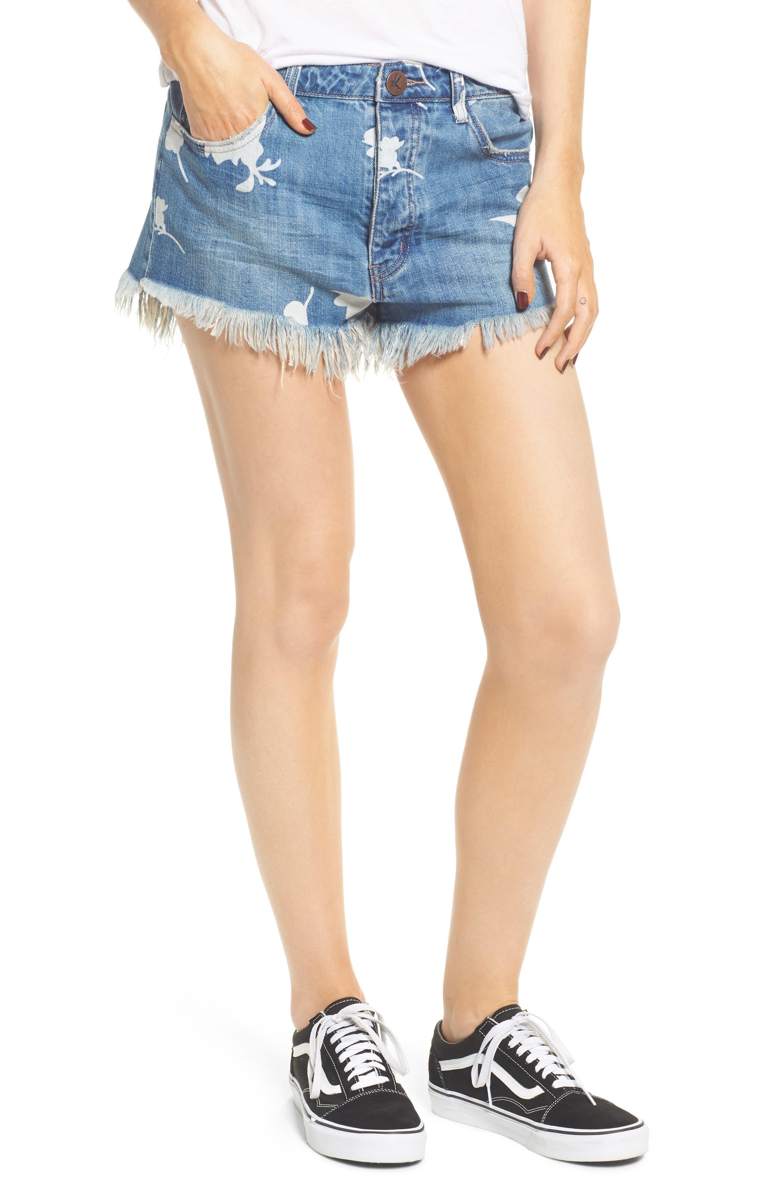 One Teaspoon Outlawed Mid Length Flowered Cutoff Denim Shorts