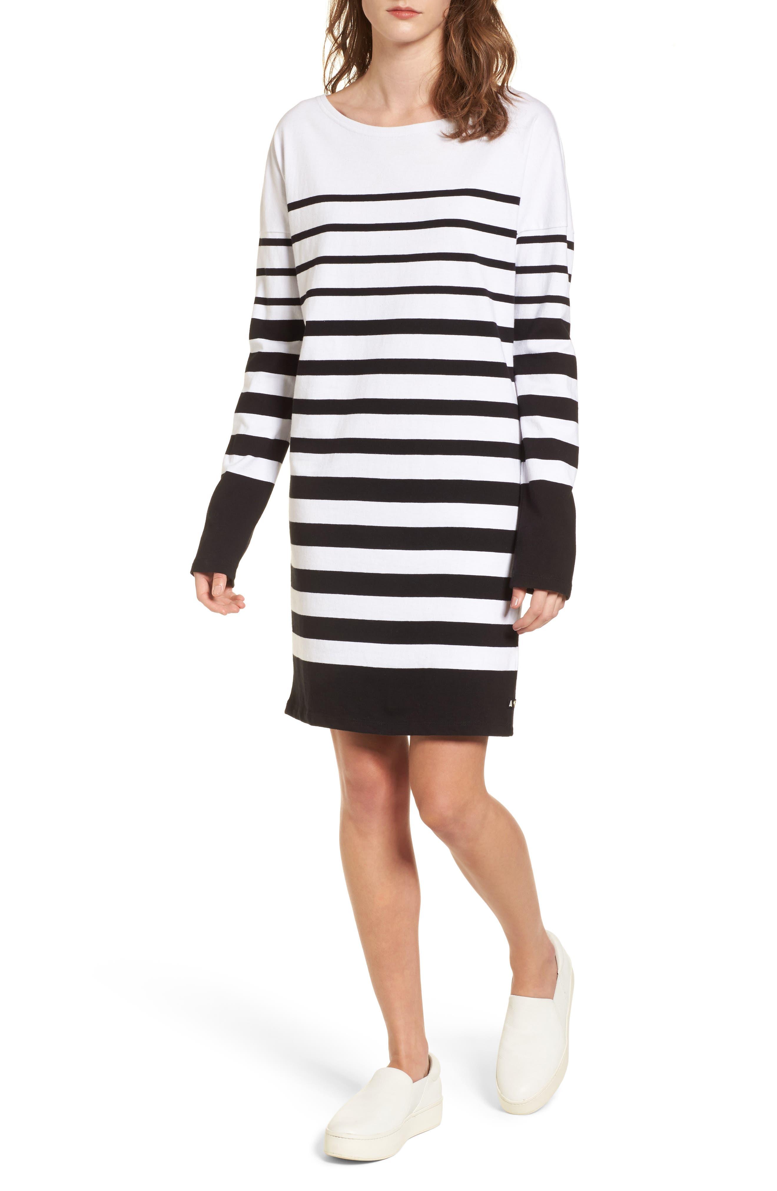 Breton Stripe Cotton Shift Dress,                         Main,                         color, Black/ White