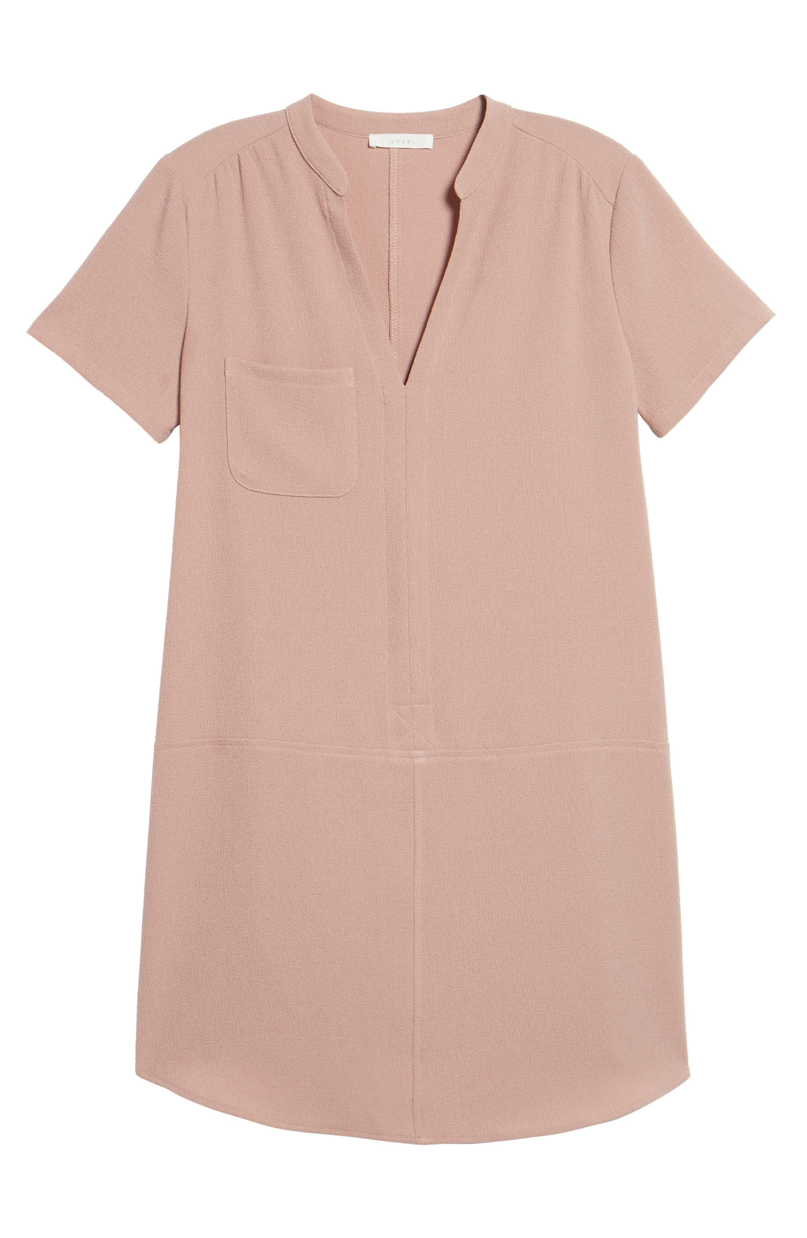 Hailey Crepe Dress,                             Alternate thumbnail 3, color,                             Pink Adobe