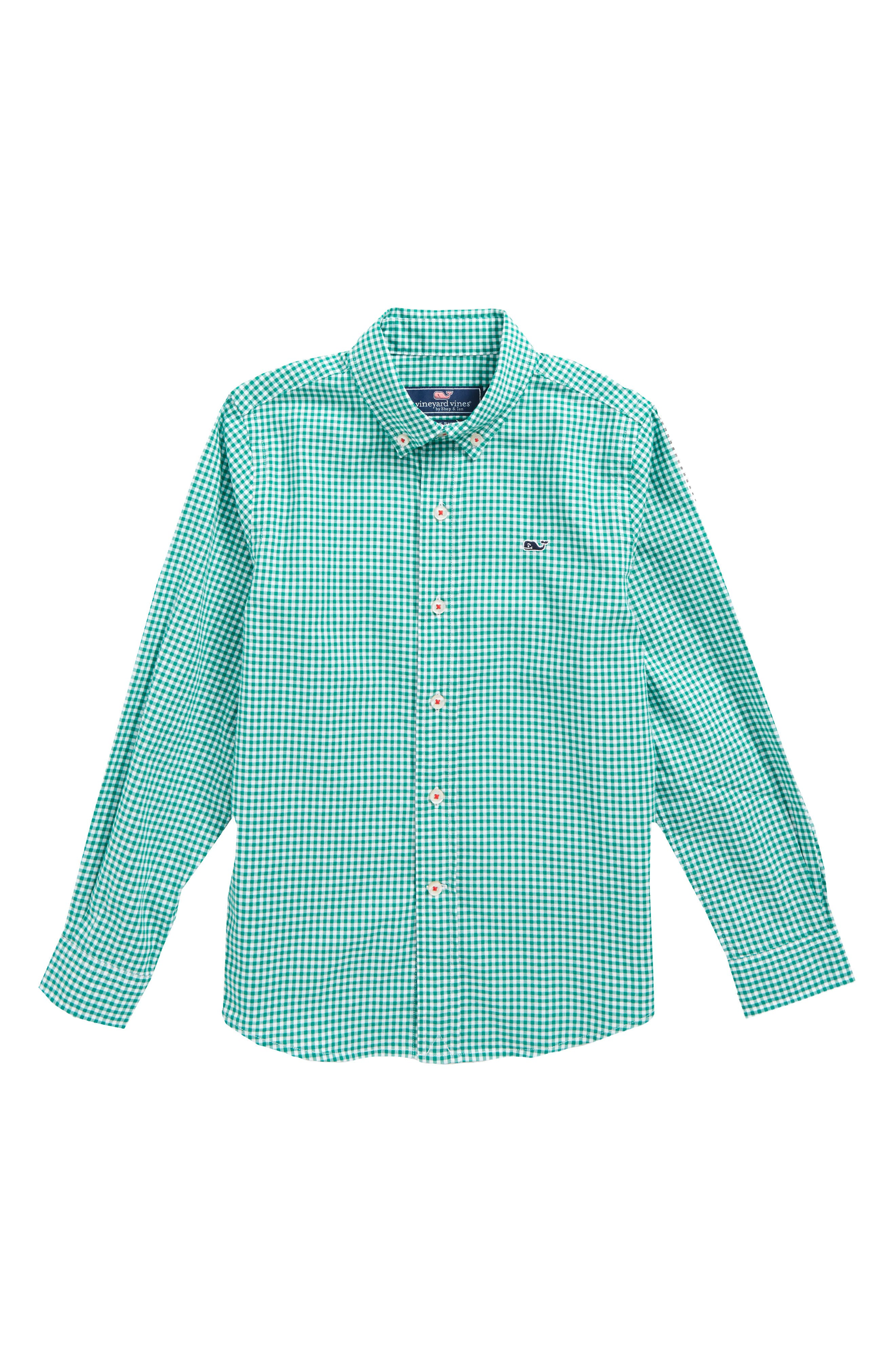 Old Town Gingham Whale Shirt,                             Main thumbnail 1, color,                             Holly