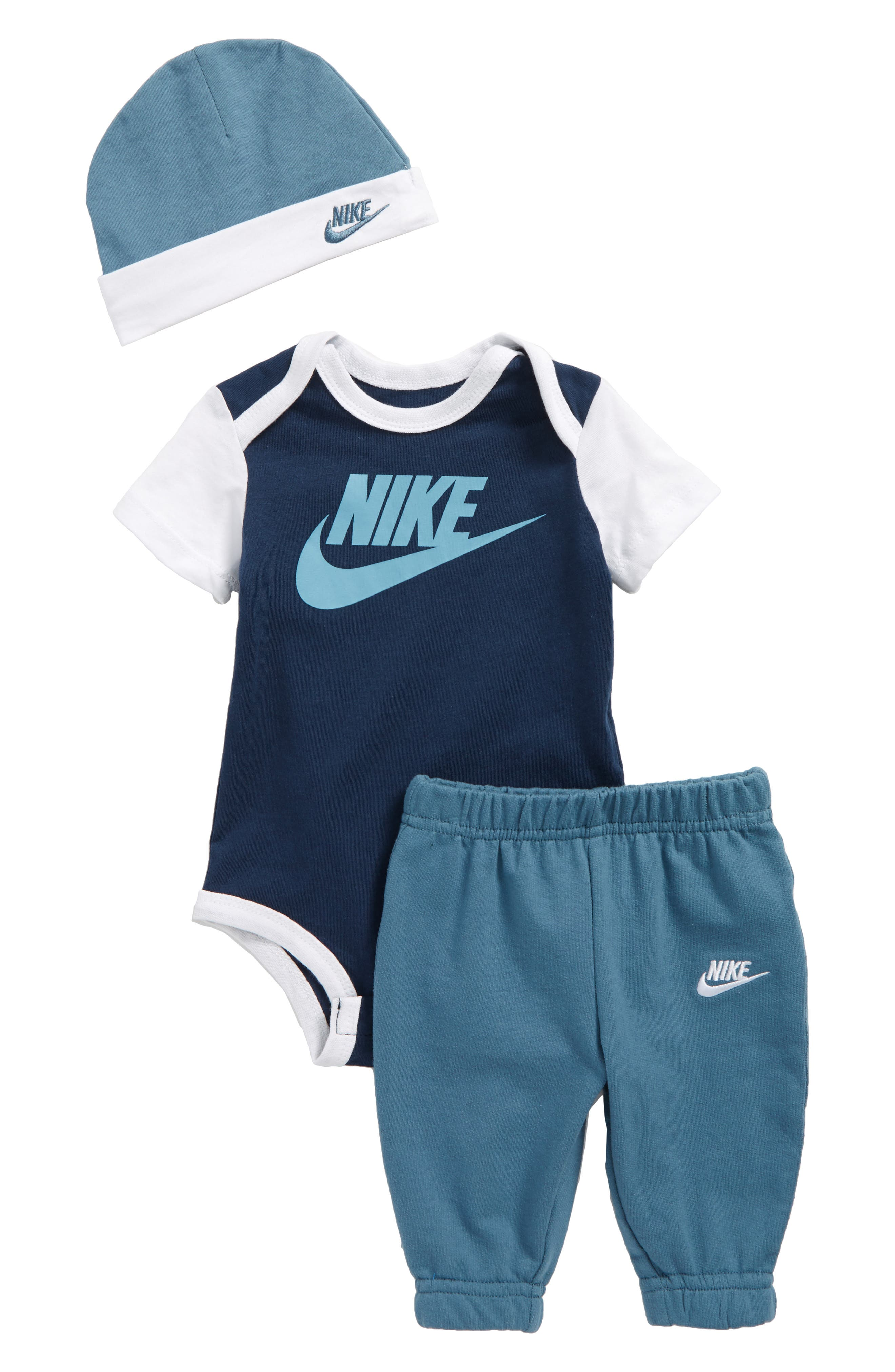 Main Image - Nike Bodysuit, Jogger Pants & Beanie Set (Baby Boys)