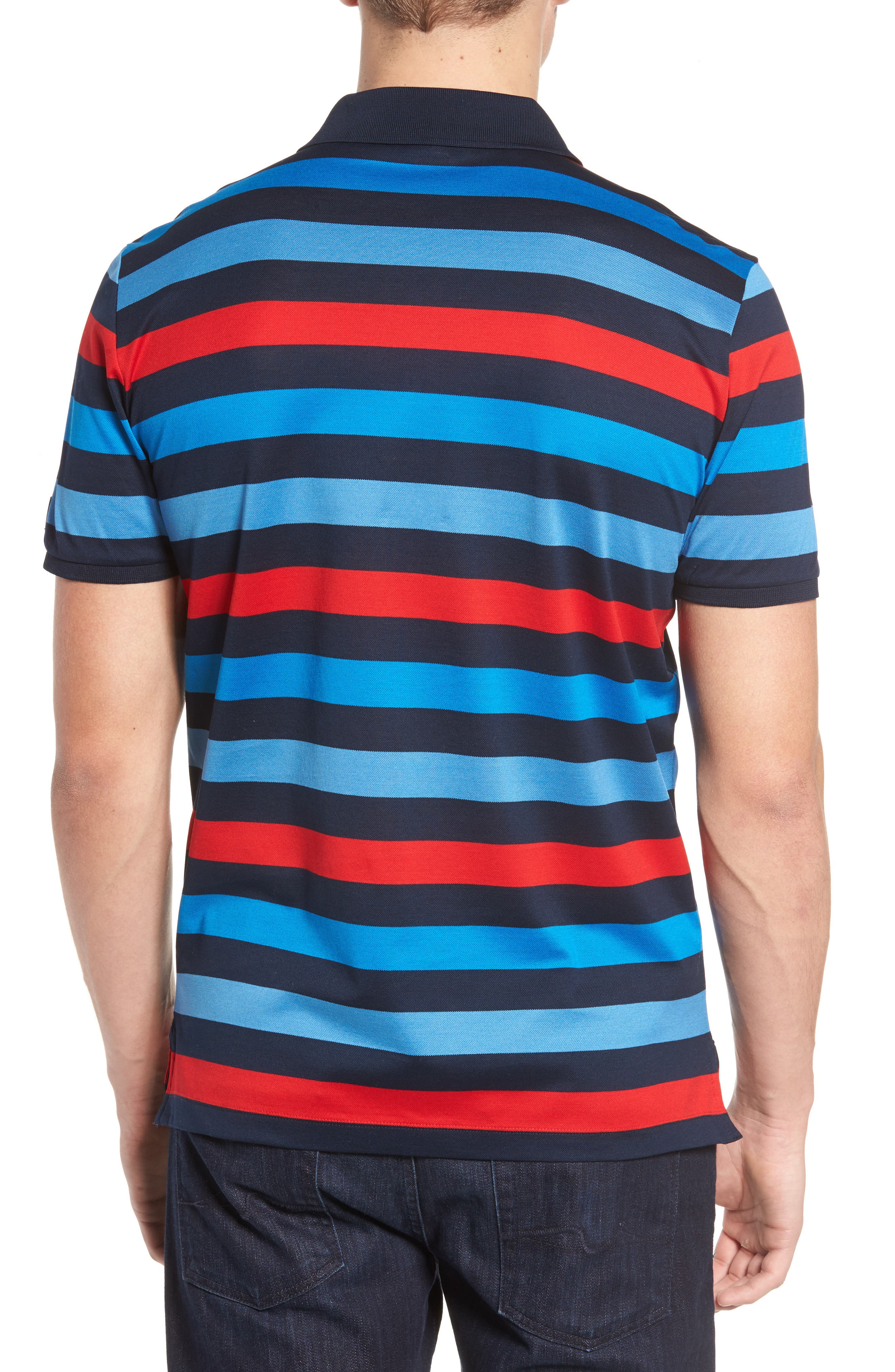Stripe Tipped Polo,                             Alternate thumbnail 2, color,                             Blue/ Red/ Navy