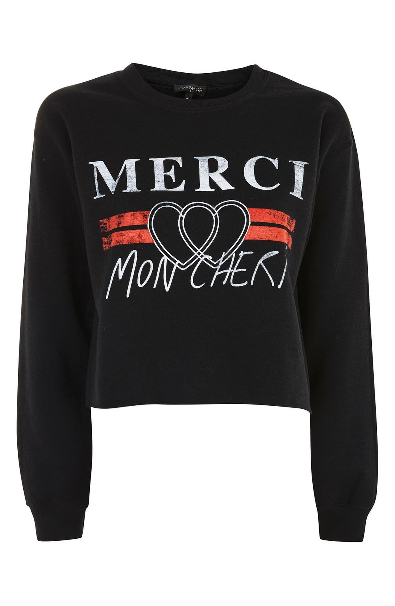 Merci Crop Sweatshirt,                             Alternate thumbnail 4, color,                             Black Multi