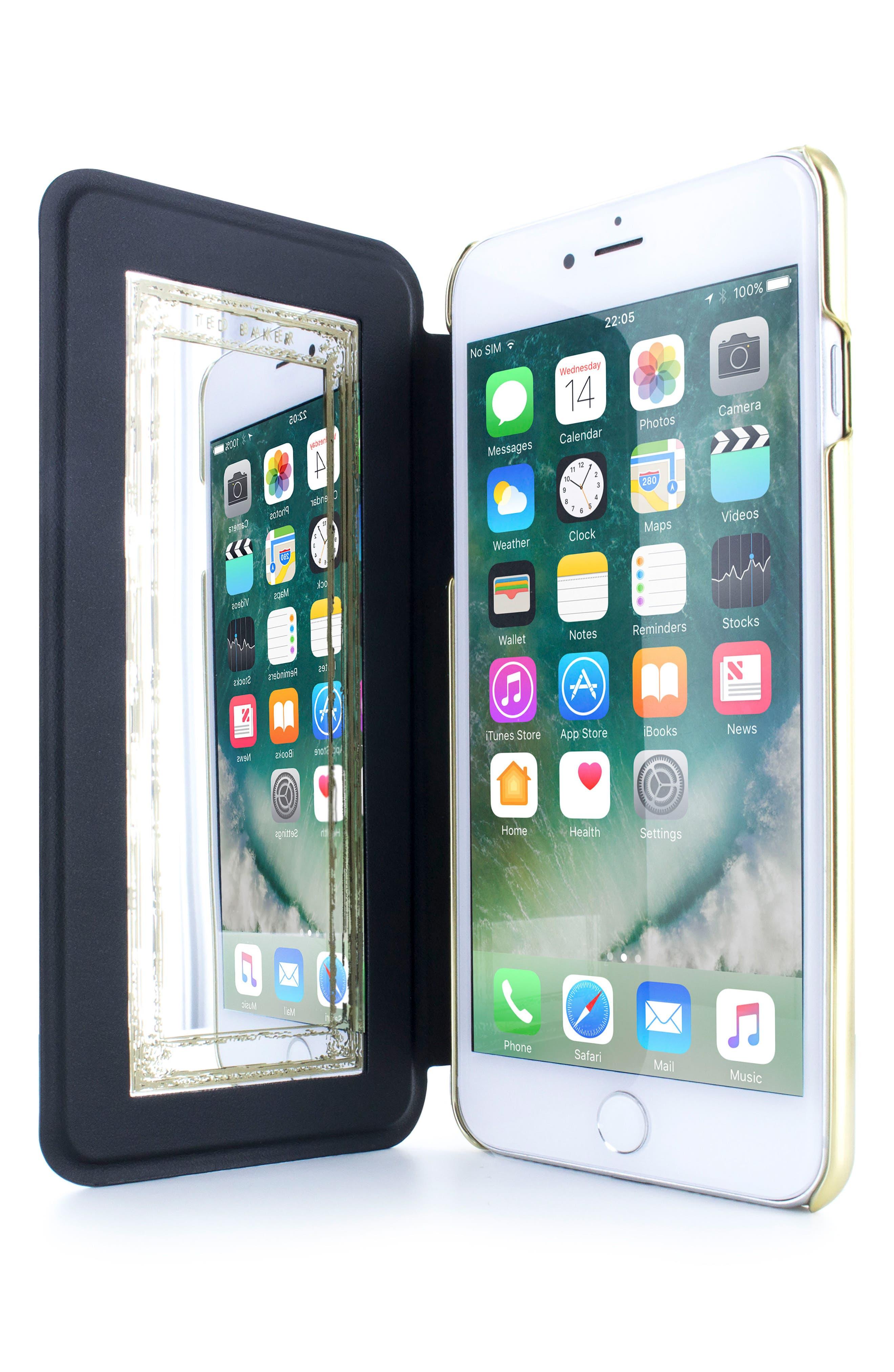 Chelsea iPhone 6/6s/7/8 & 6/6s/7/8 Plus Mirror Folio Case,                             Alternate thumbnail 2, color,                             Chelsea Black