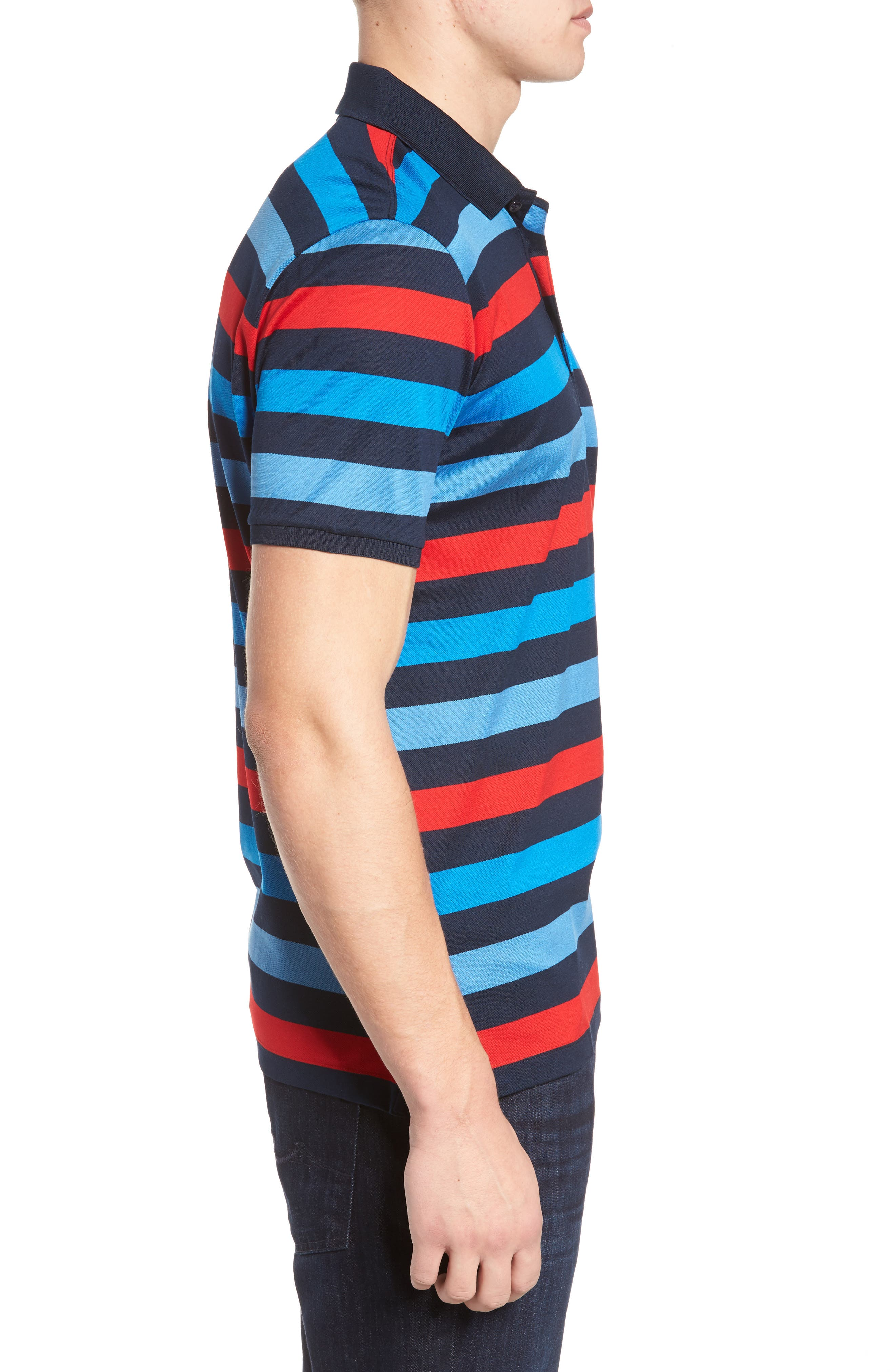 Stripe Tipped Polo,                             Alternate thumbnail 3, color,                             Blue/ Red/ Navy
